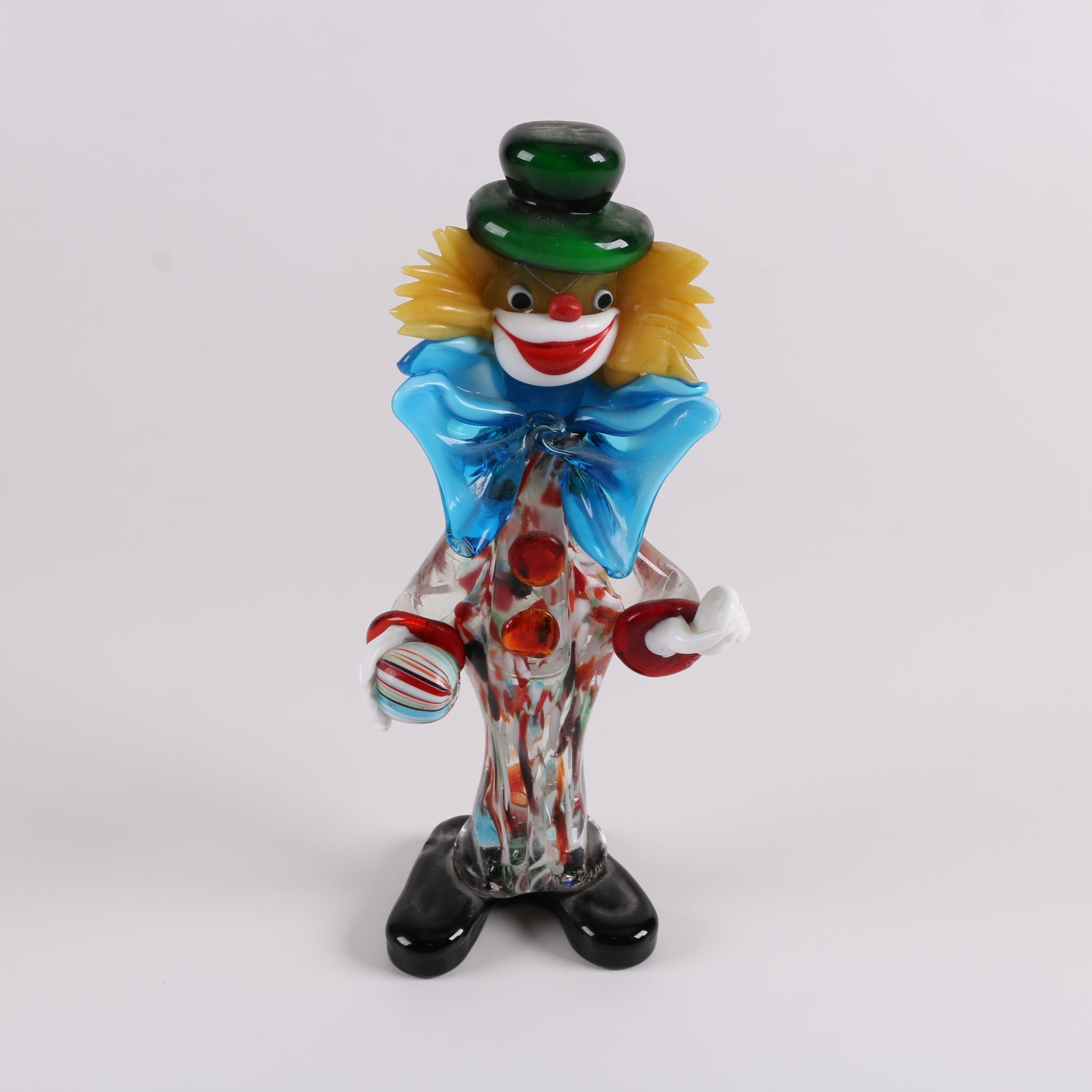 Murano Style Hand-Blown Clown Figurine