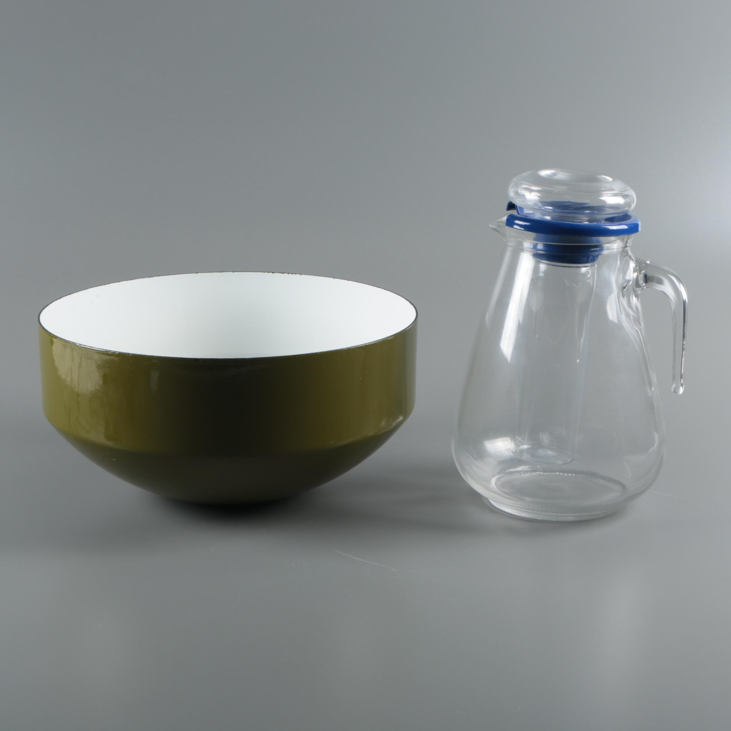 Copco Michael Lax Design Serving Bowl with Italian Glass Pitcher