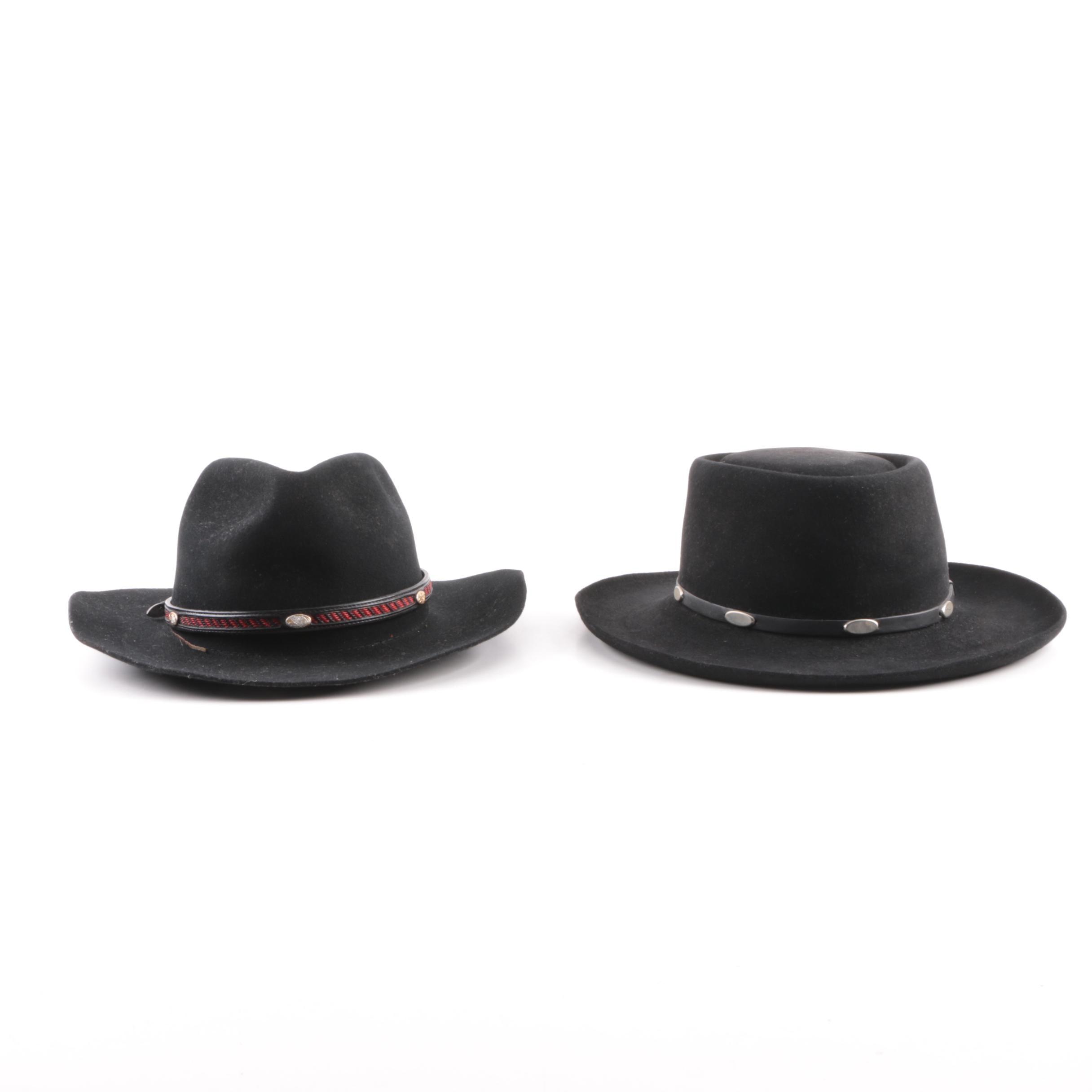 Men's Vintage Stetson Black Felted Western Hats