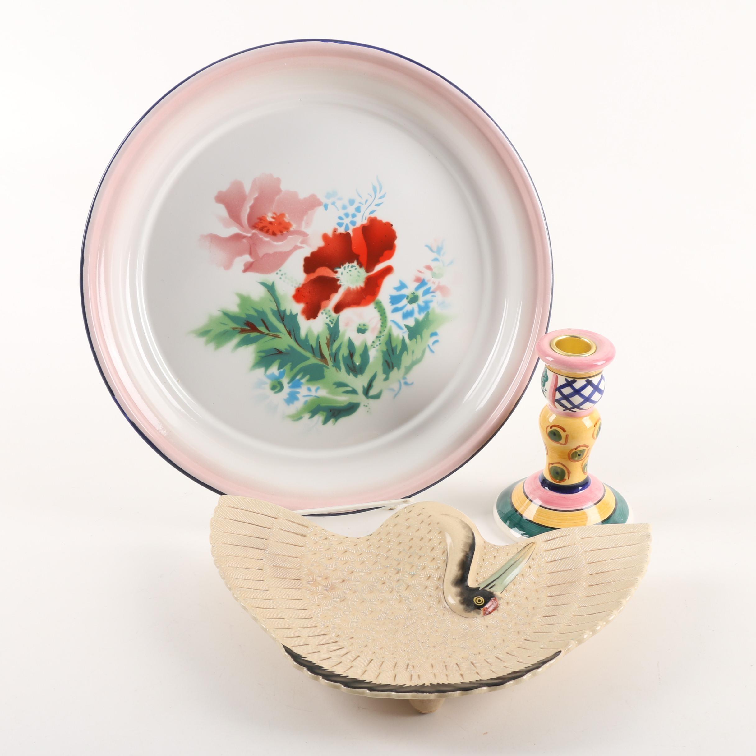 Vintage Red Crested Crane Ceramic Dish and Bumper Harvest Enamel Tray