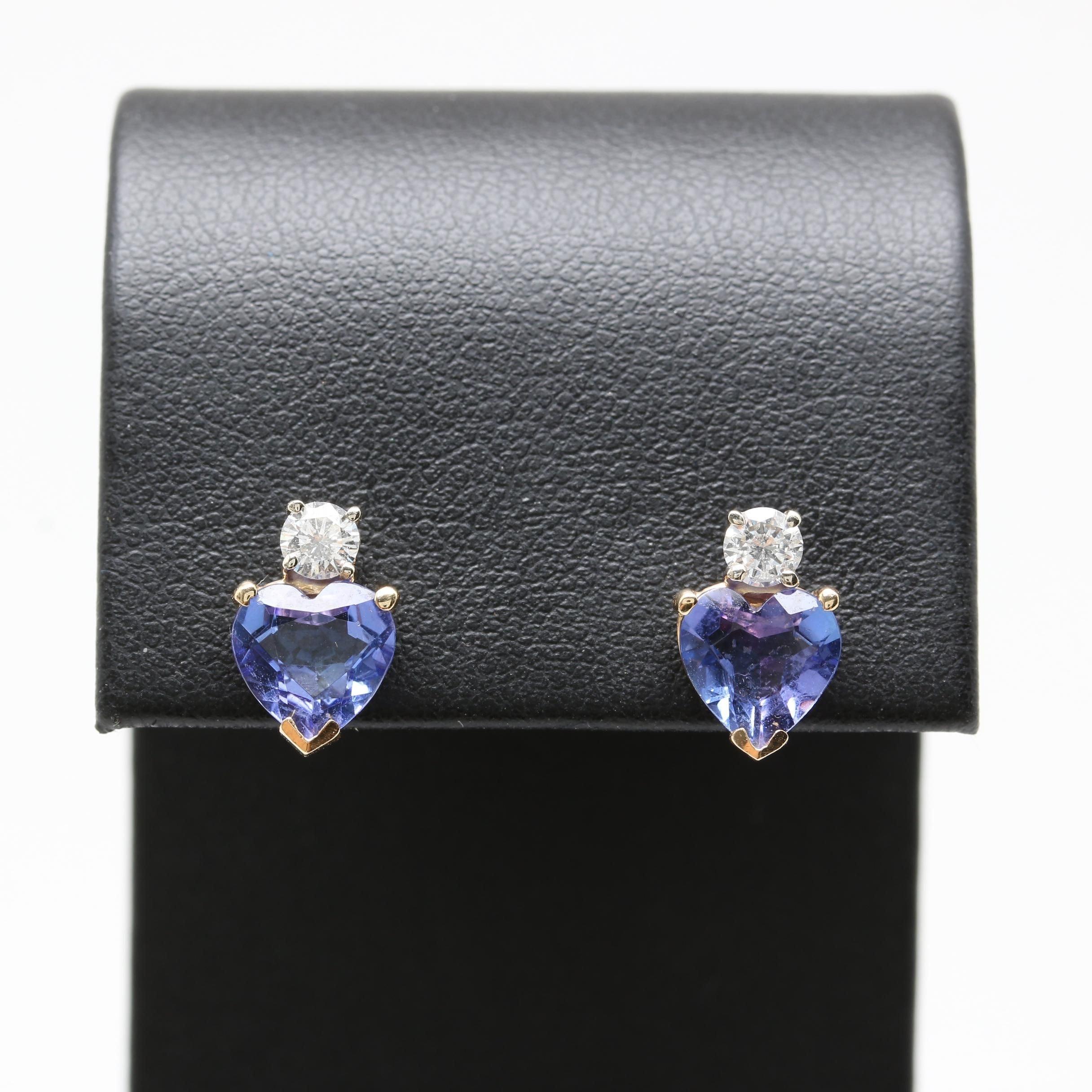 14K Yellow Gold Tanzanite and Diamond Heart Earrings
