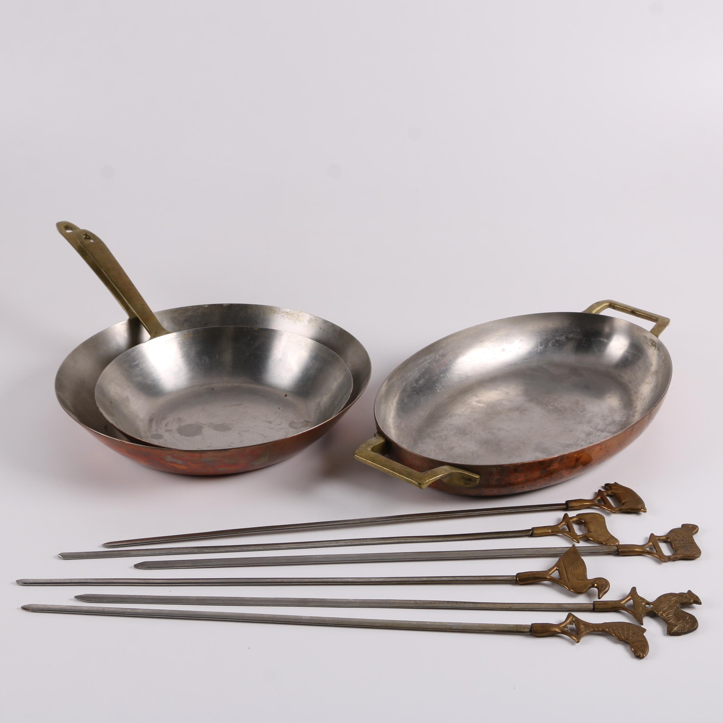 Vintage Copper Pans with Indian Stainless Steel Skewers