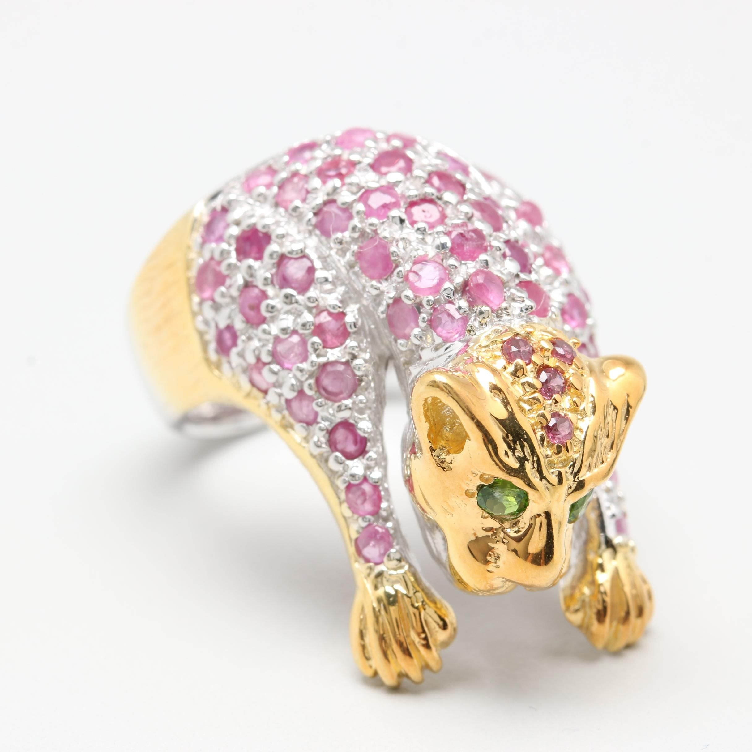 Sterling Silver Ruby, Rhodolite Garnet, and Diopside Cat Ring with Gold Wash