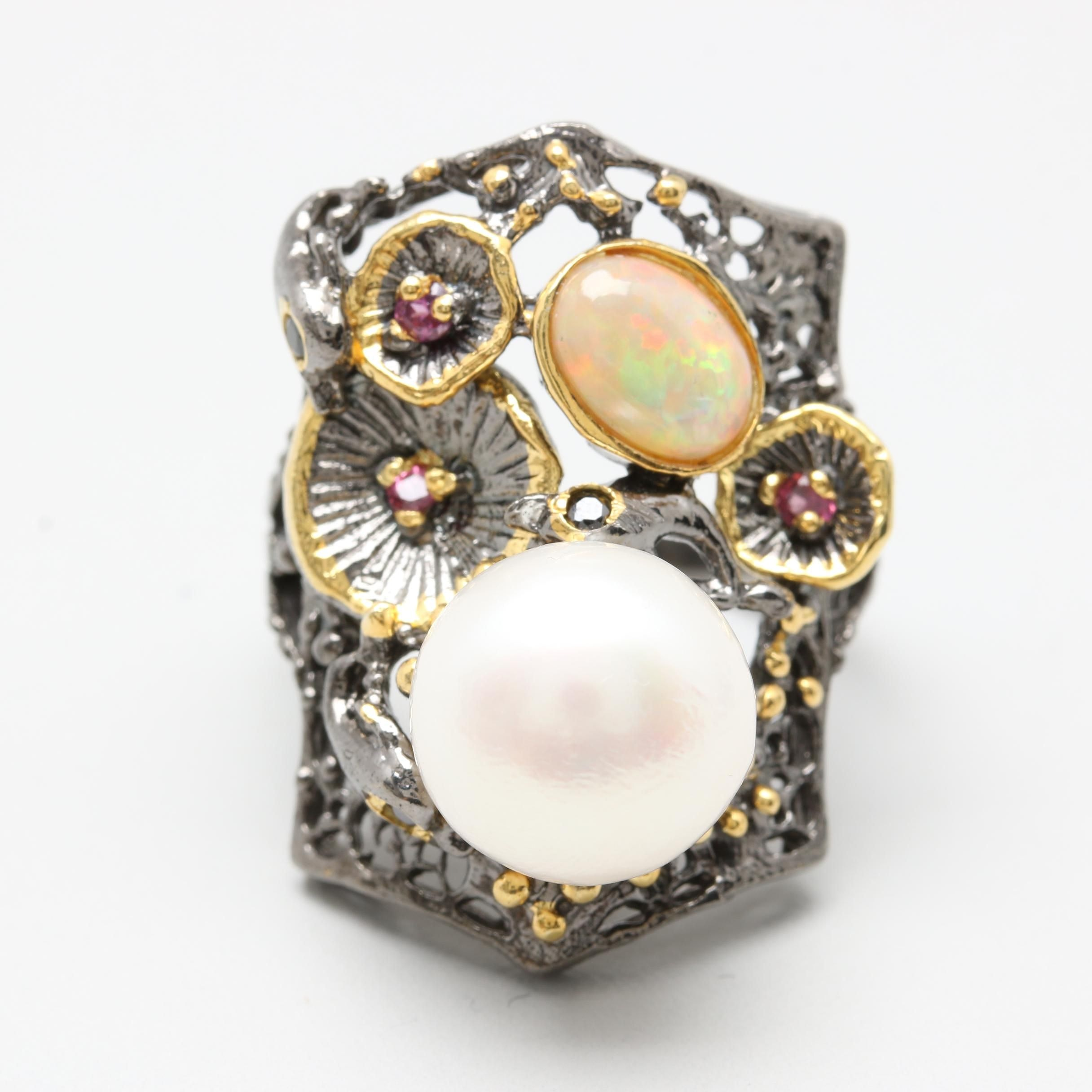 Sterling Silver Cultured Pearl, Opal, and Rhodolite Garnet Ring with Gold Wash