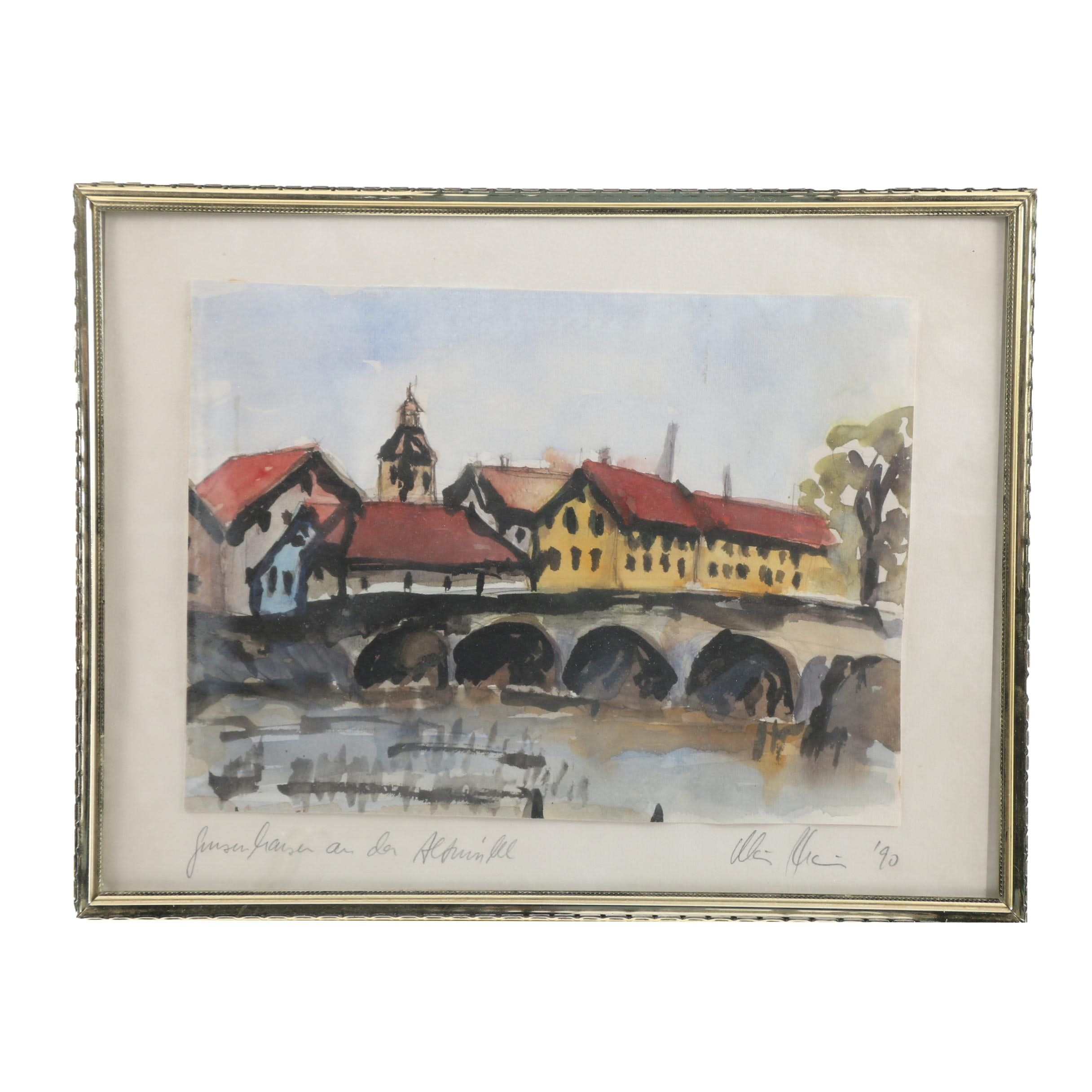 German Watercolor and Gouache Painting of Village River Scene