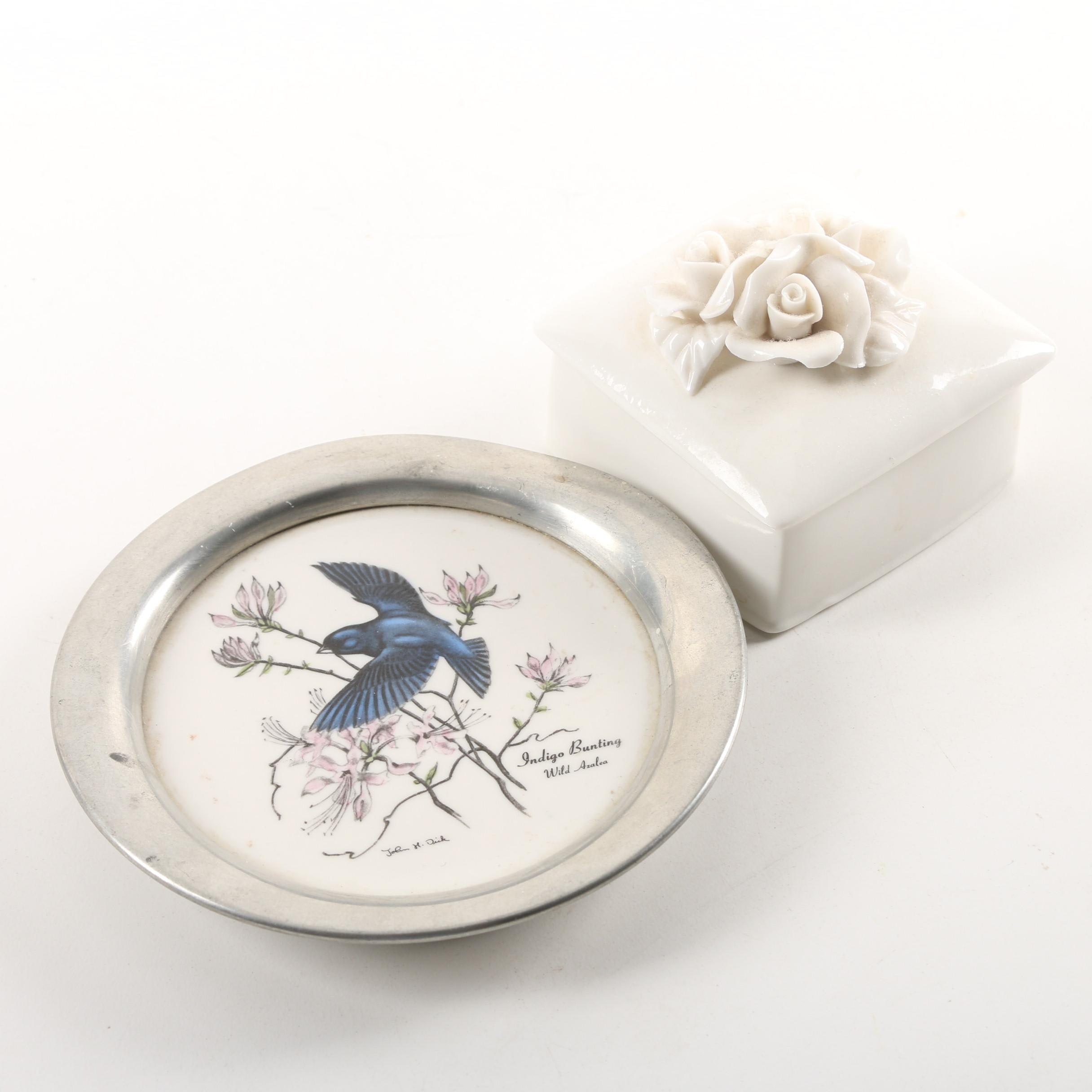 "Reed & Barton ""Indigo Bunting"" Wine Bottle Coaster with Ceramic Trinket Box"