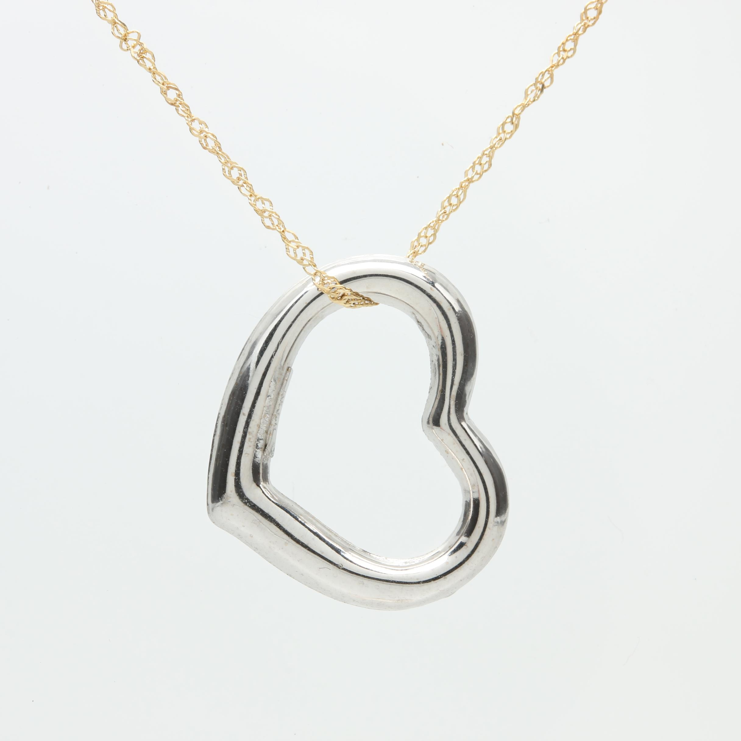 14K White Gold Heart Pendant on 14K Yellow Gold Chain