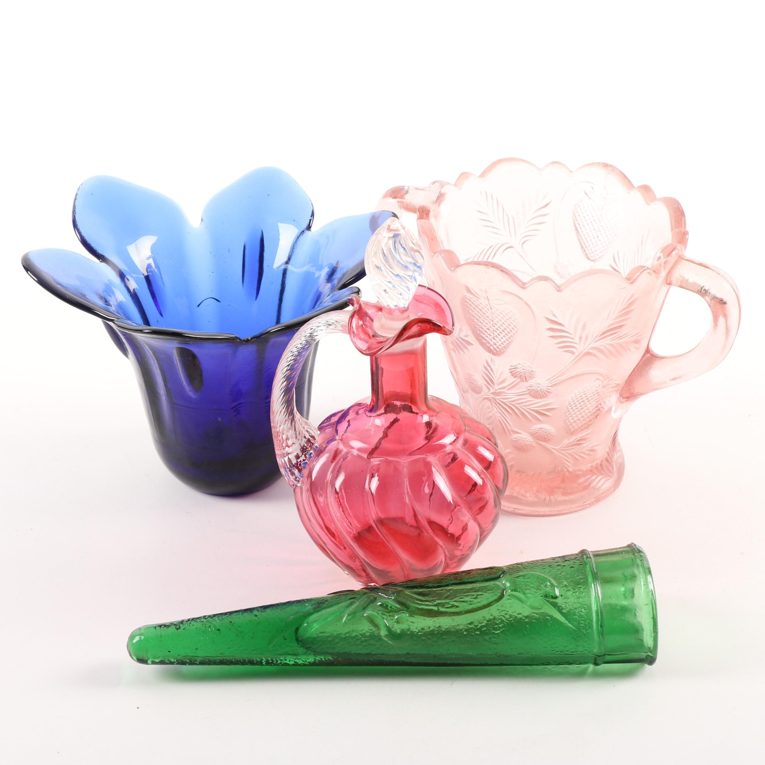 Pink Depression Glass Pitcher, Wall Pocket Bud Vase, Cruet, and Candleholder