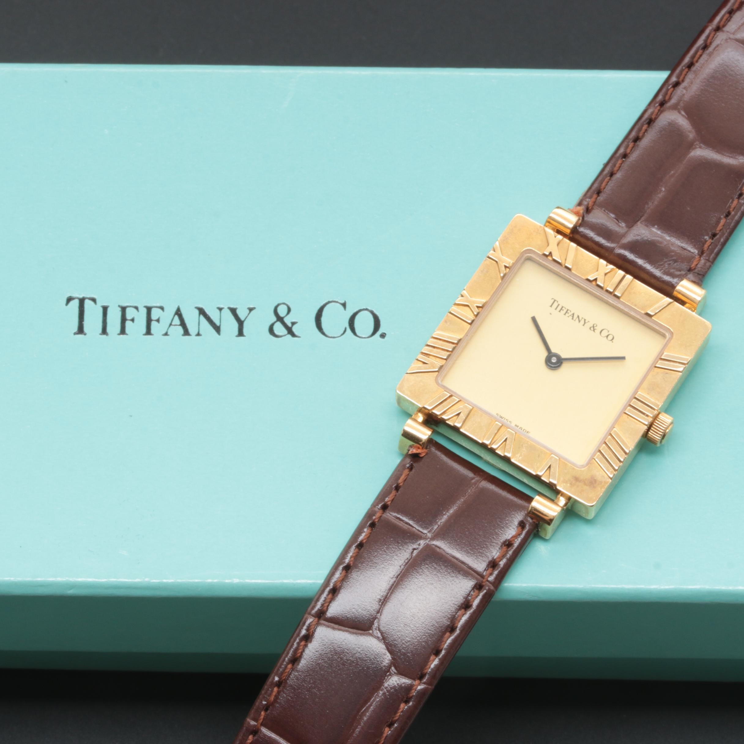 Tiffany & Co. Atlas 18K Yellow Gold Wristwatch with Brown Leather Strap