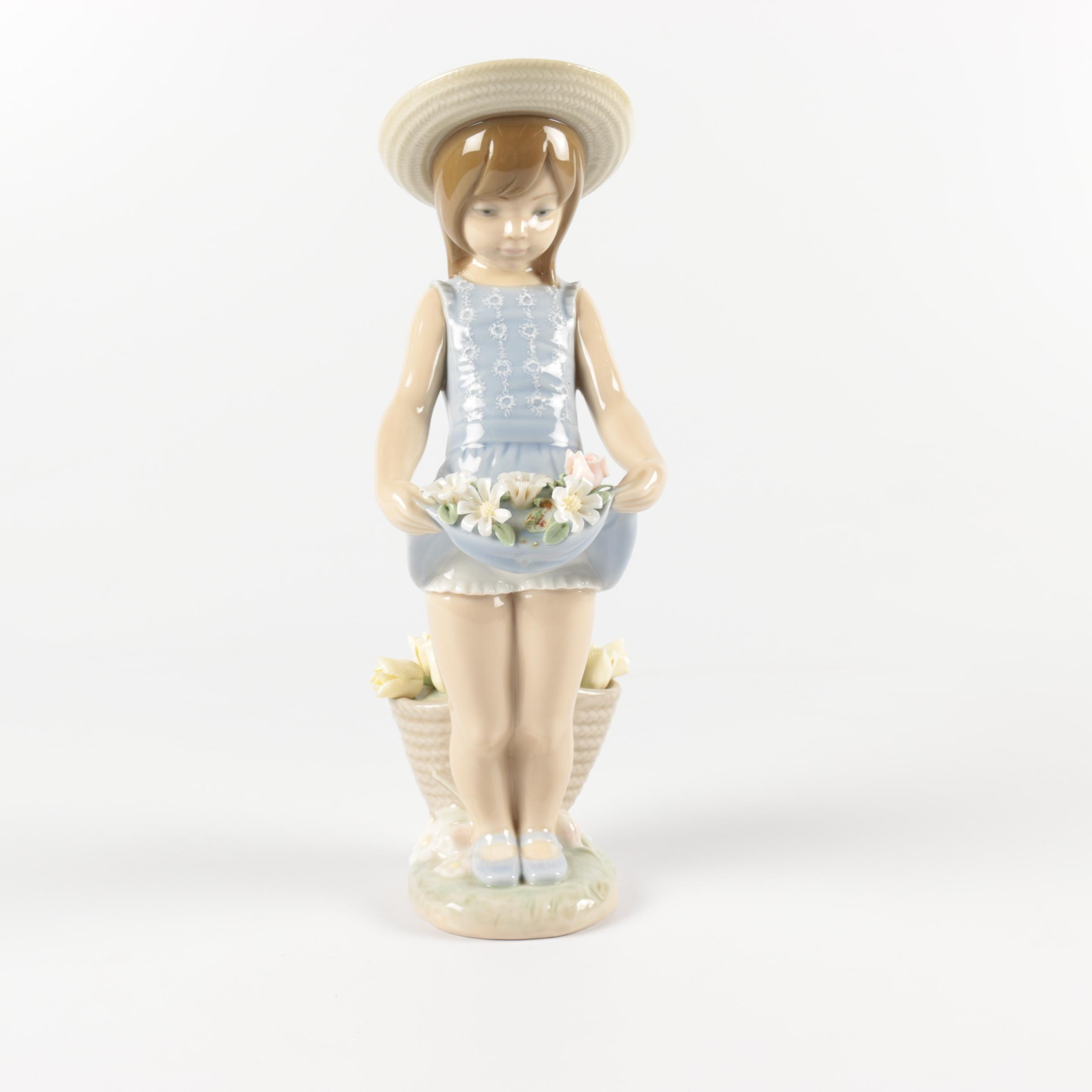 "Lladró ""Flowers on the Lap"" Porcelain Figurine"