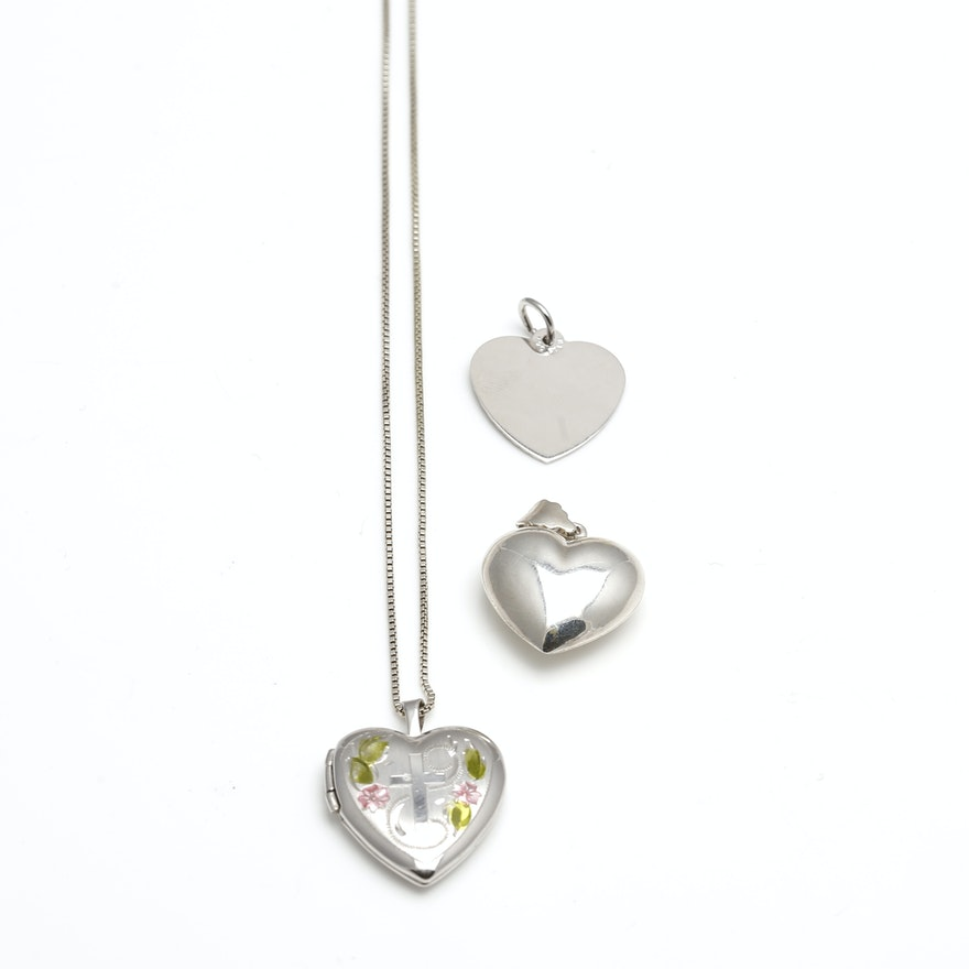 Sterling silver locket necklace and heart pendants ebth sterling silver locket necklace and heart pendants aloadofball Image collections