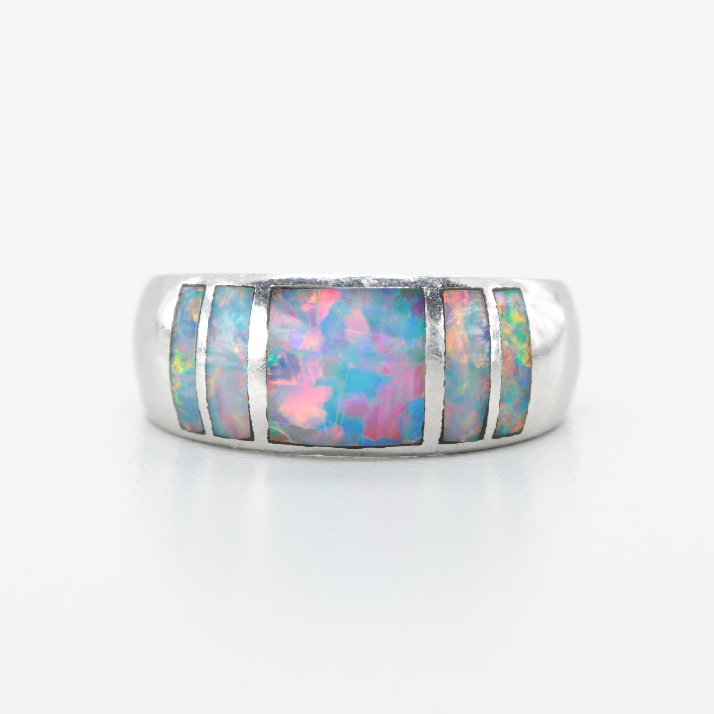 Platinum Opal Doublet Ring