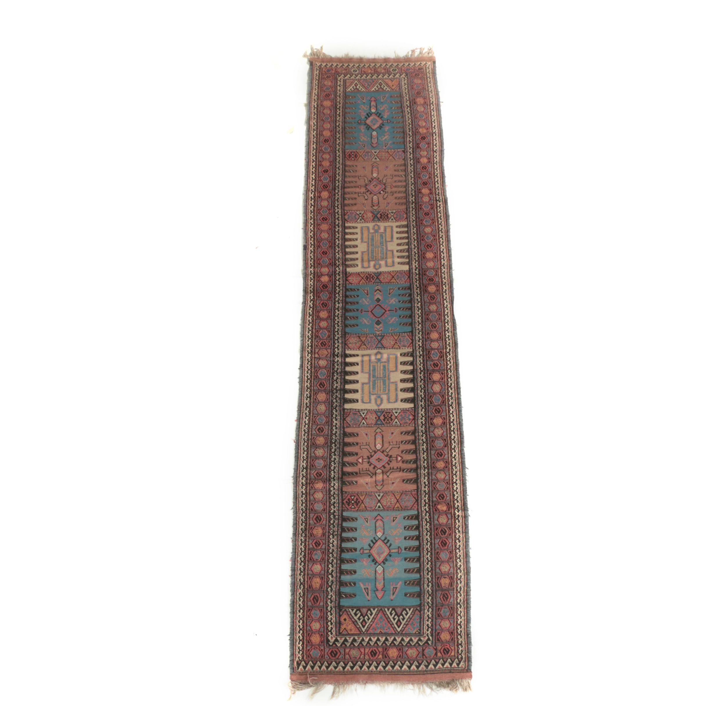 Handwoven and Embroidered Caucasian Wool Kilim Runner
