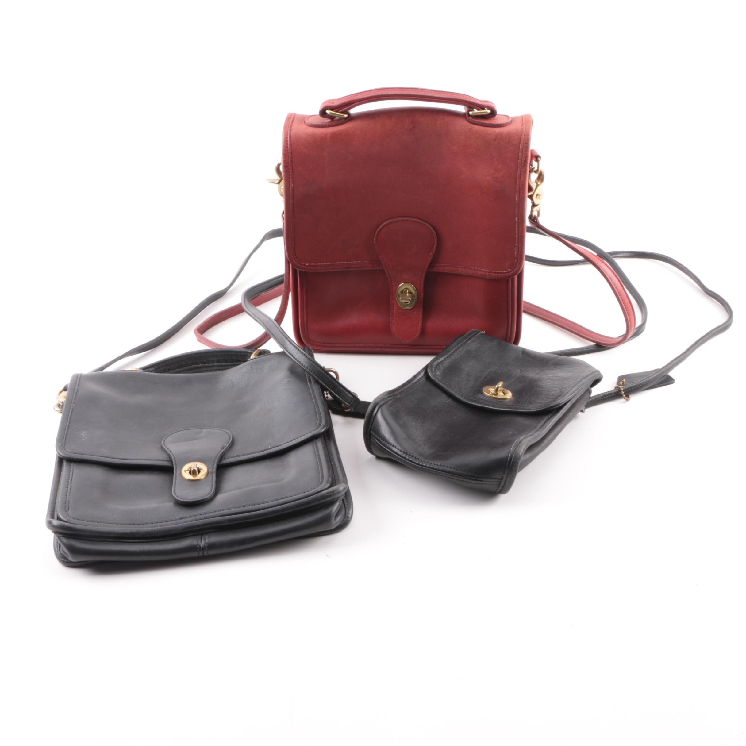 Vintage Coach Leather Station and Slip Bags