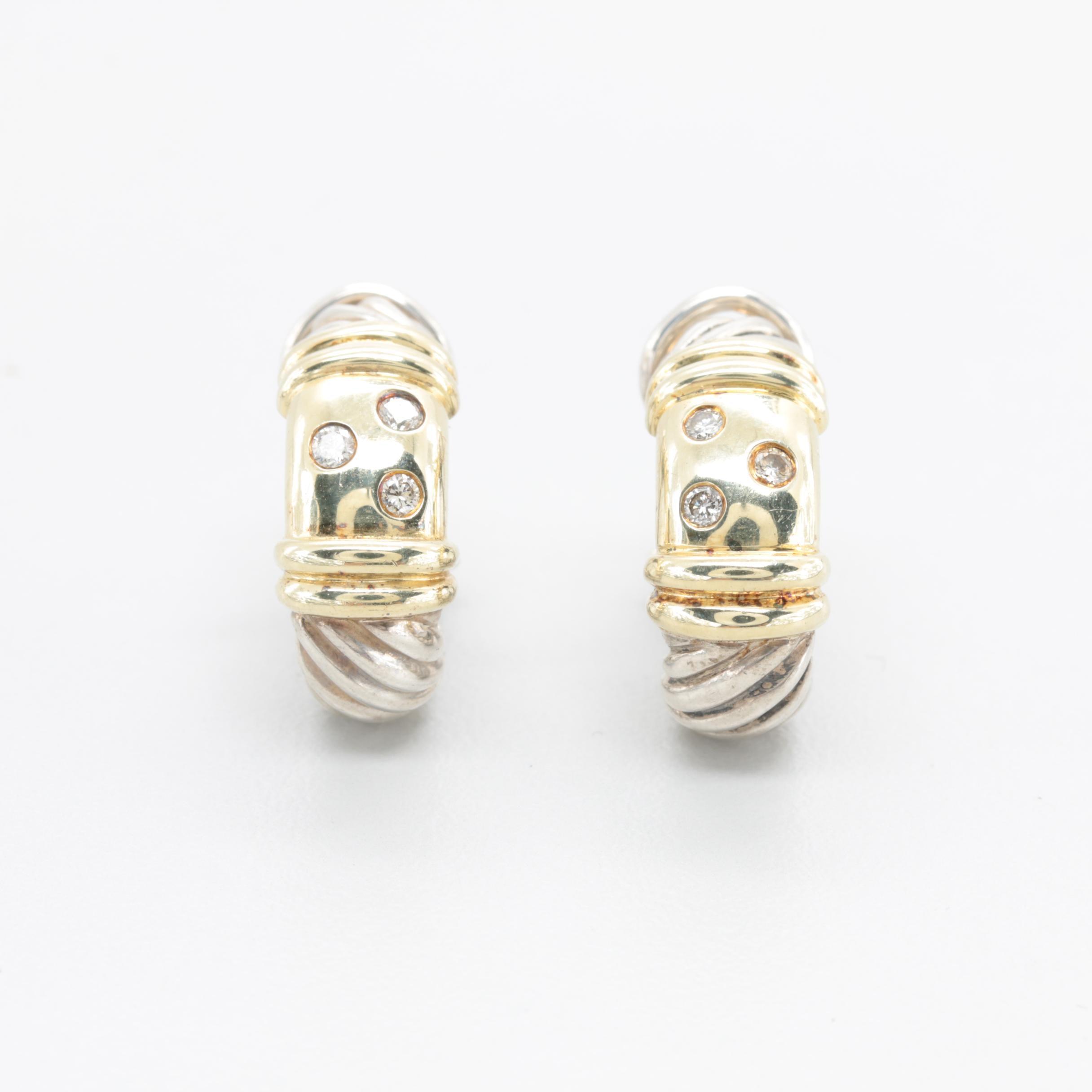David Yurman Sterling Silver and 14K Yellow Gold Diamond Earrings