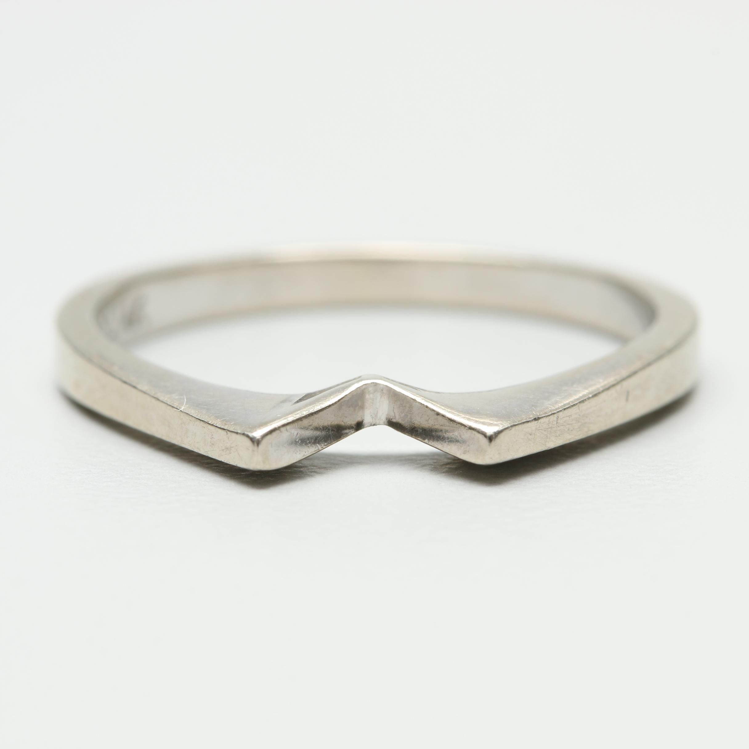 14K White Gold Shadow Band Ring
