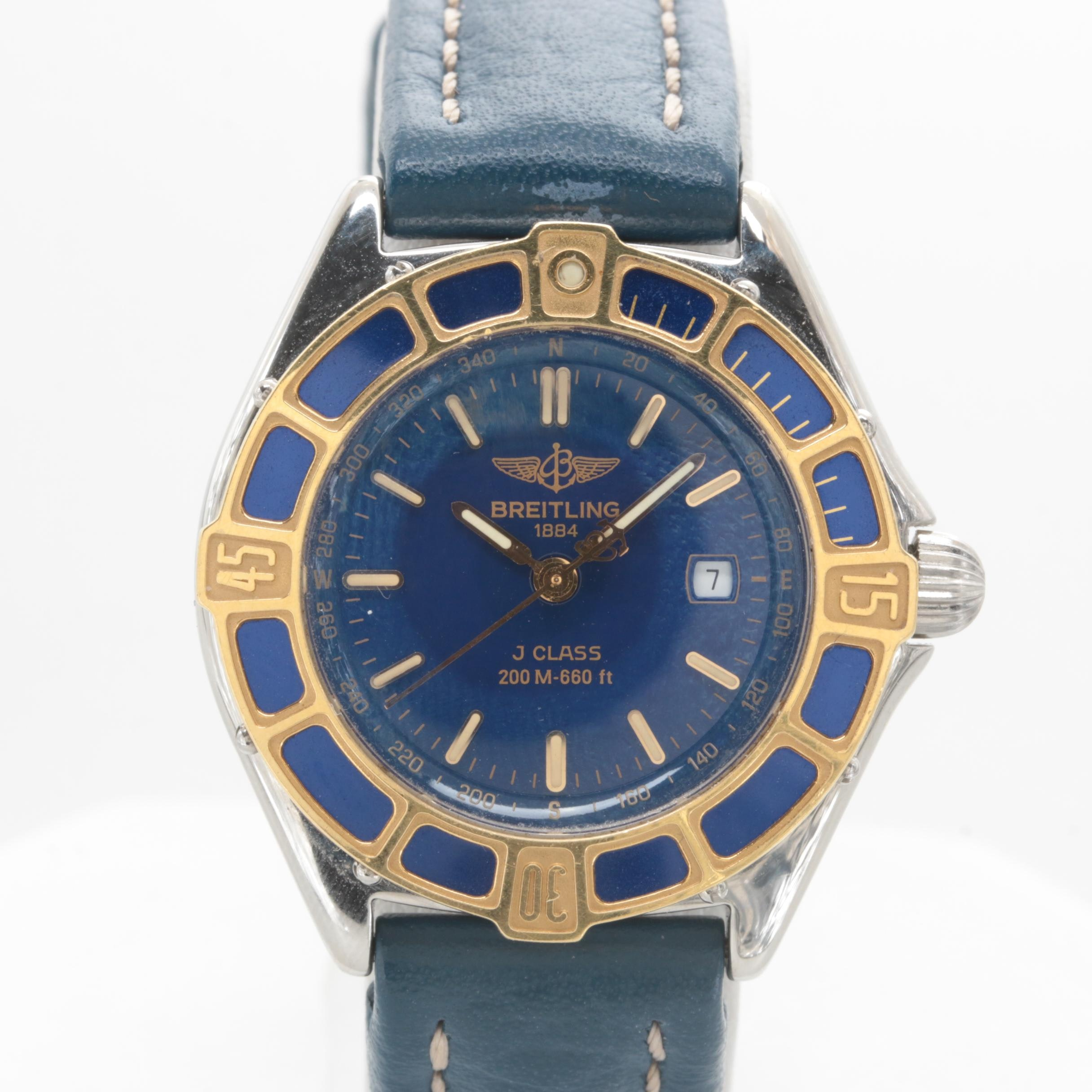 Breitling Stainless Steel and 18K Yellow Gold Blue Dial Wristwatch