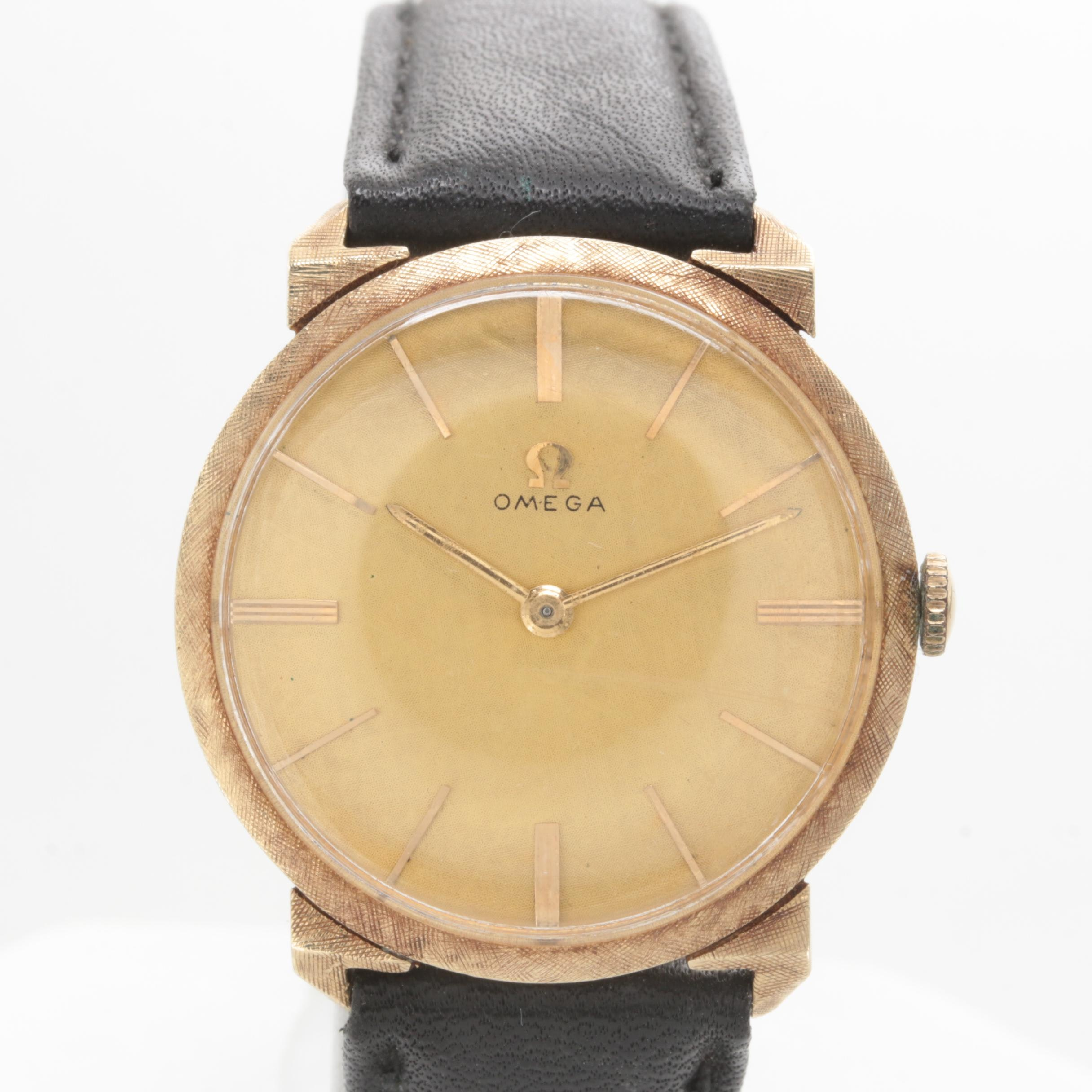 Omega 14K Yellow Gold Leather Strap Wristwatch