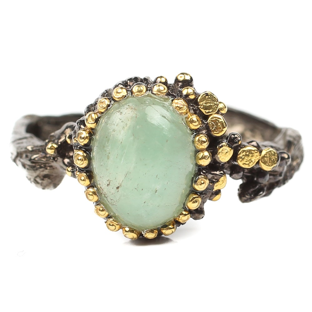 Sterling 1.70 CT Bezel Set Emerald Ring With Gold Wash Details