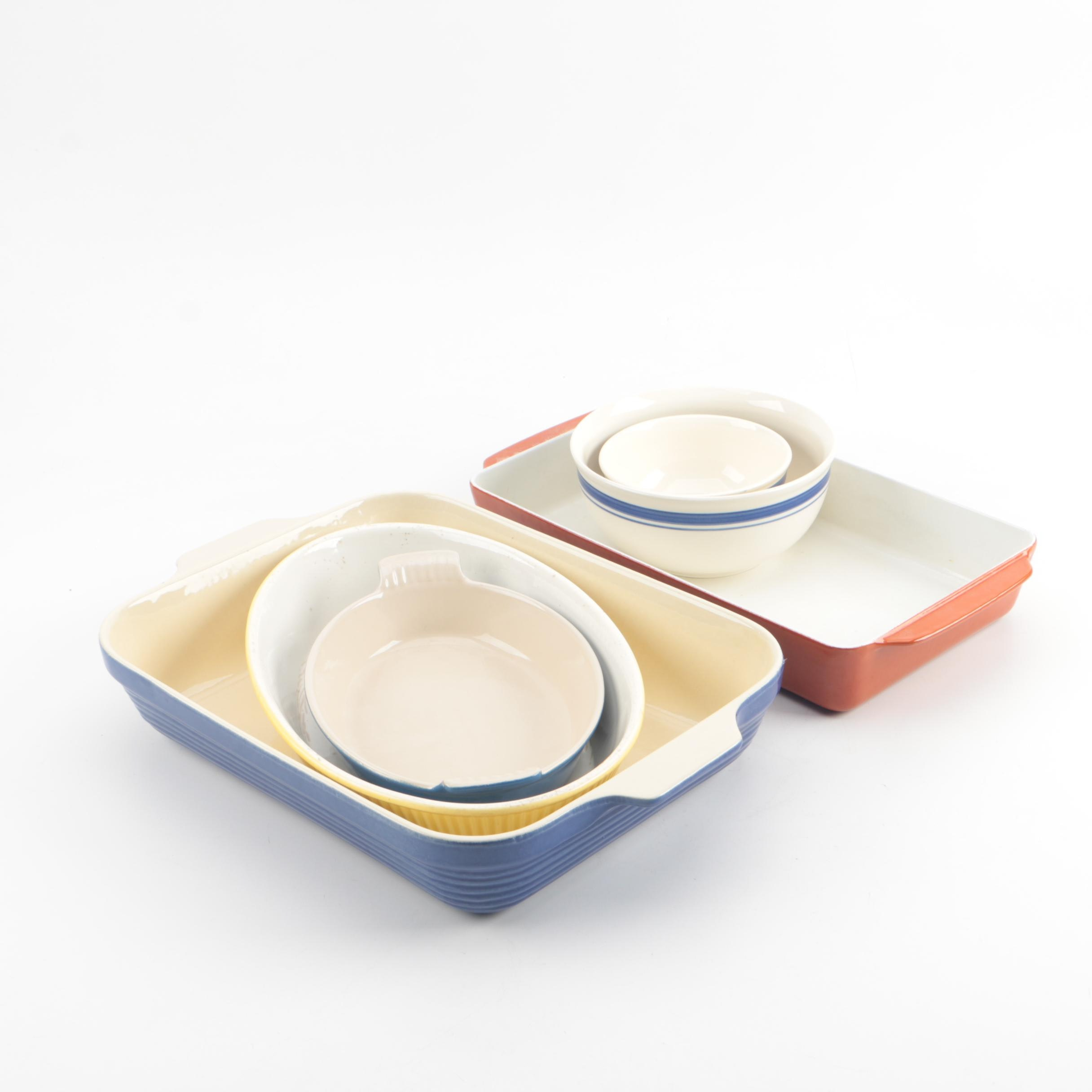 Enamel and Ceramic Baking Dishes and Mixing Bowls including Le Creuset