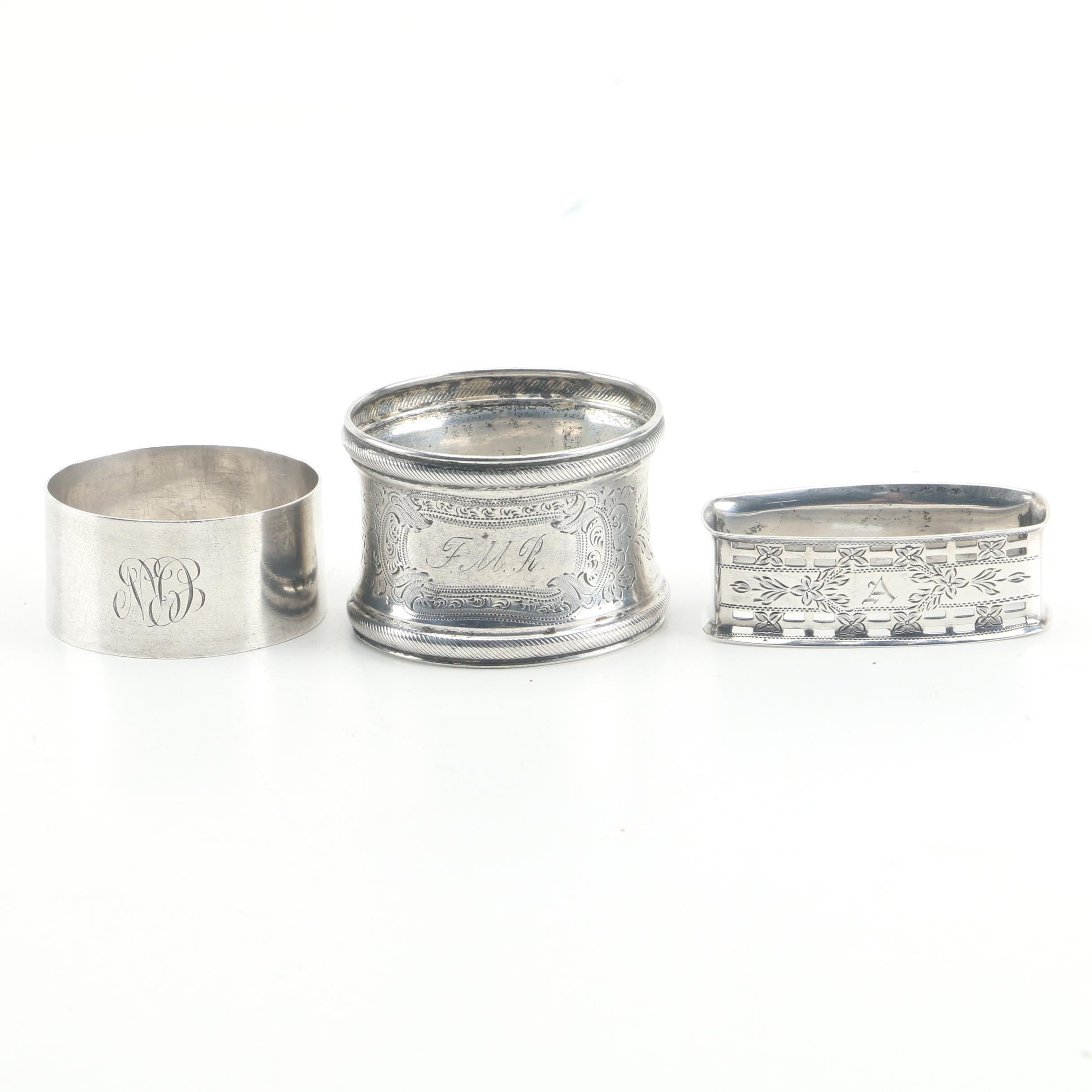 Vintage C.T. Burrows & Sons Sterling Napkin Ring with Other Silver Napkin Rings