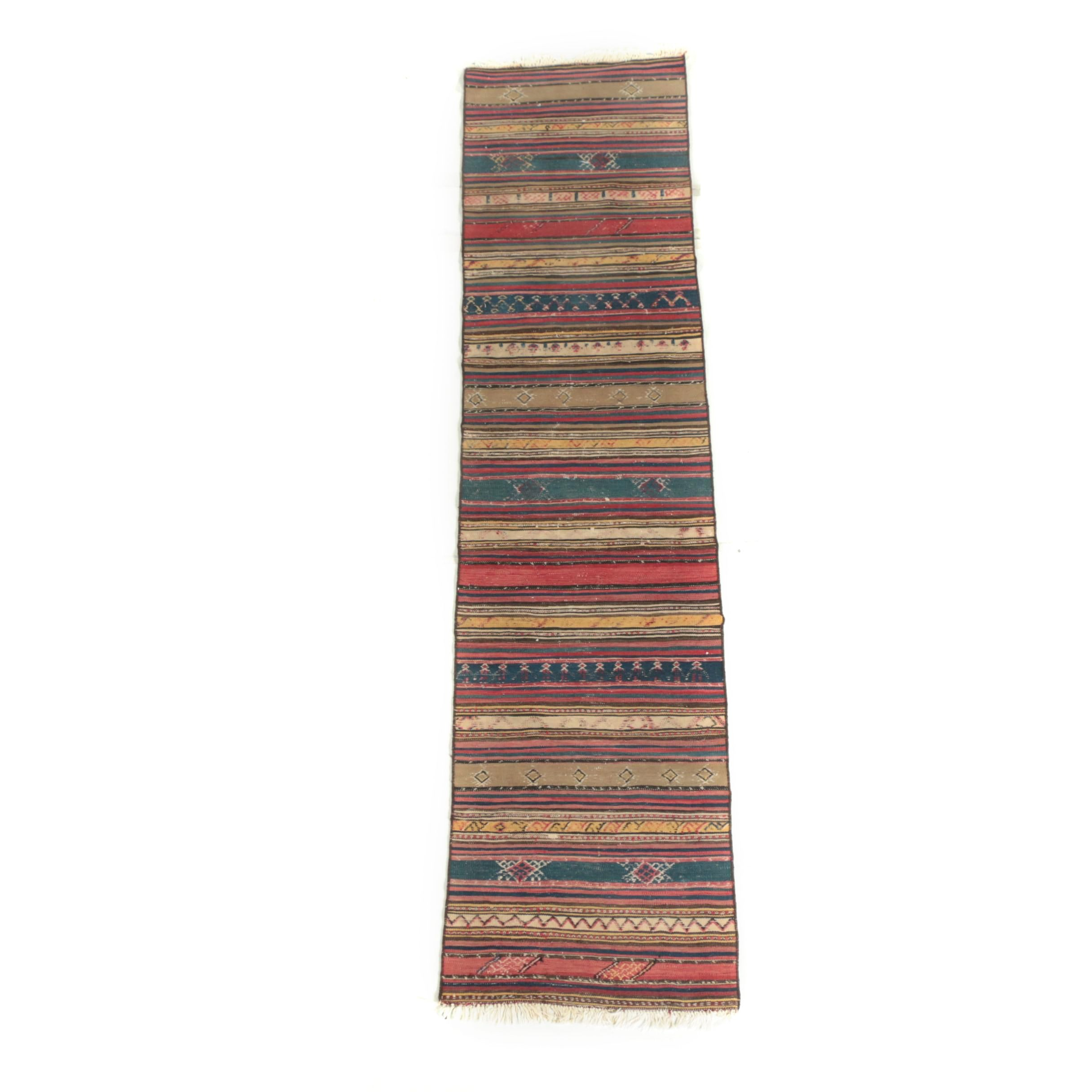 Handwoven and Embroidered Caucasian Wool Runner