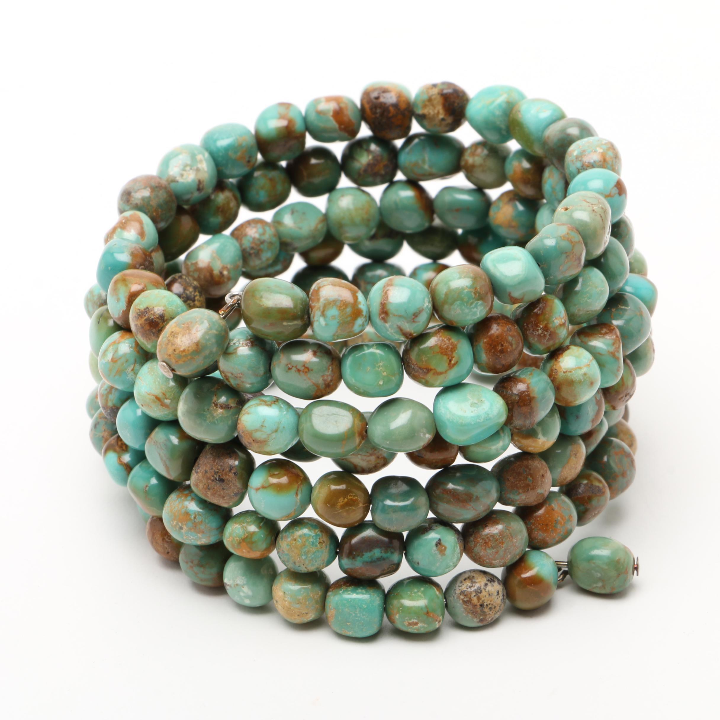 Southwestern Multi-Strand Turquoise Beaded Wrap Around Bracelet