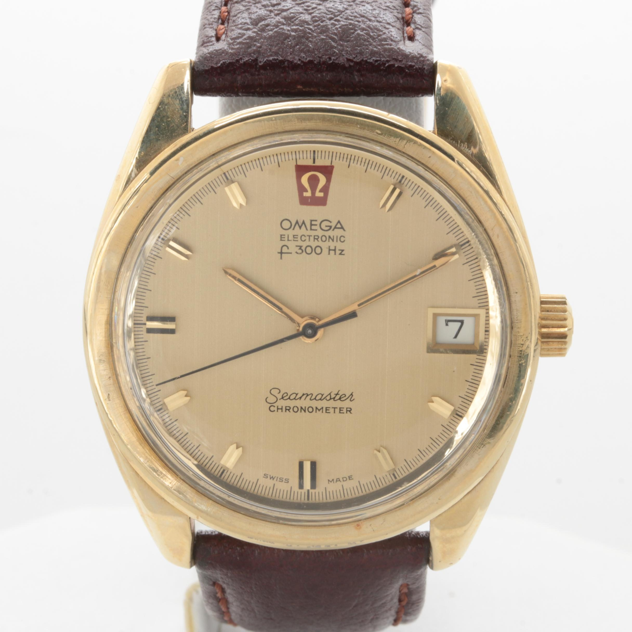 Omega Seamaster Gold-Tone Stainless Steel Wristwatch with Leather Strap