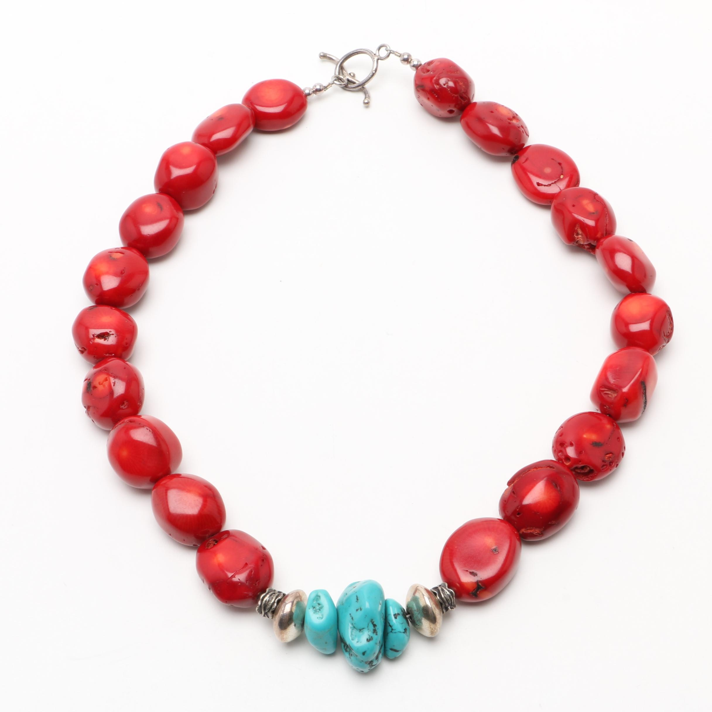 Southwestern 900 Silver Stabilized Turquoise and Dyed Coral Beaded Necklace