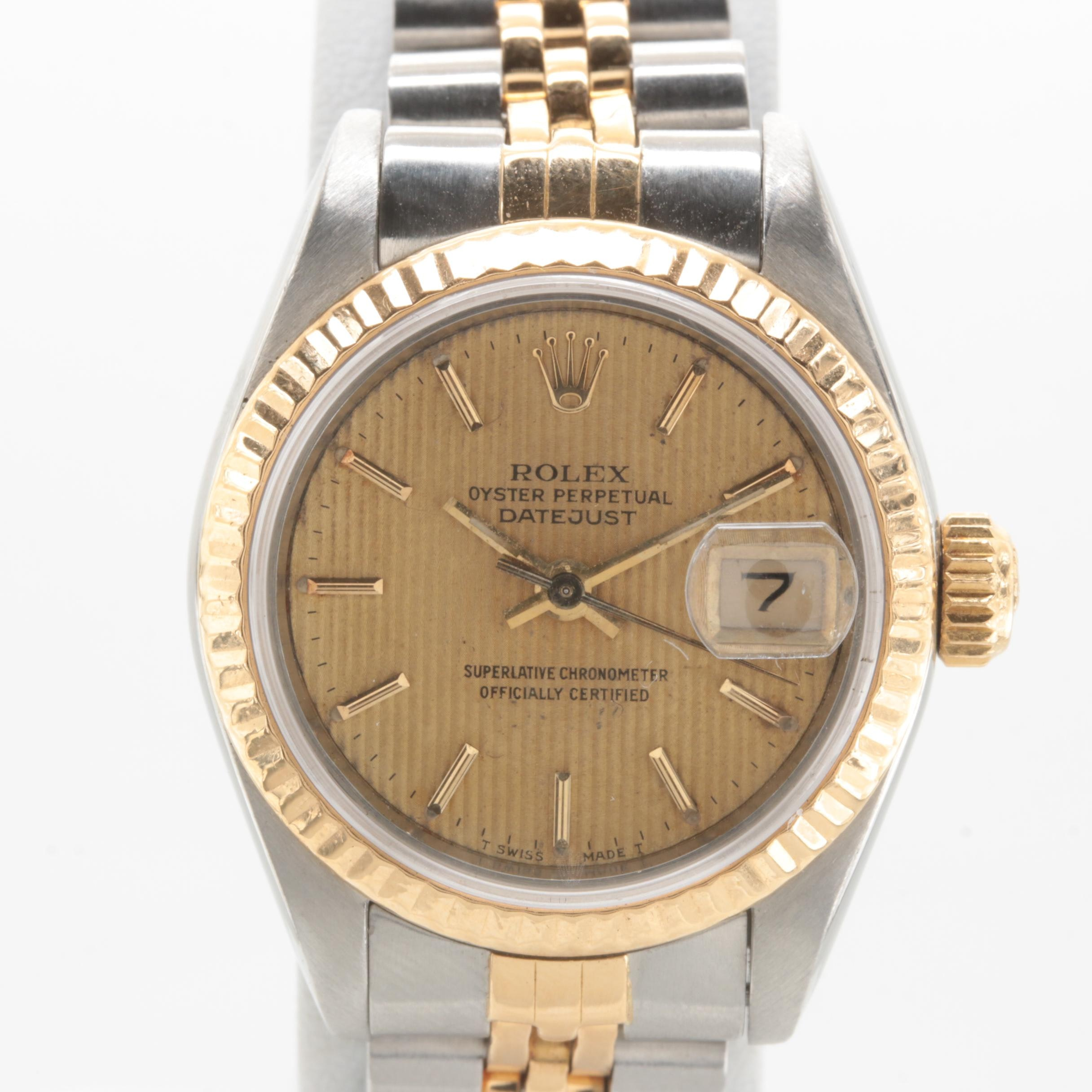 Circa 1990 Rolex Stainless Steel and 18K Yellow Gold Wristwatch
