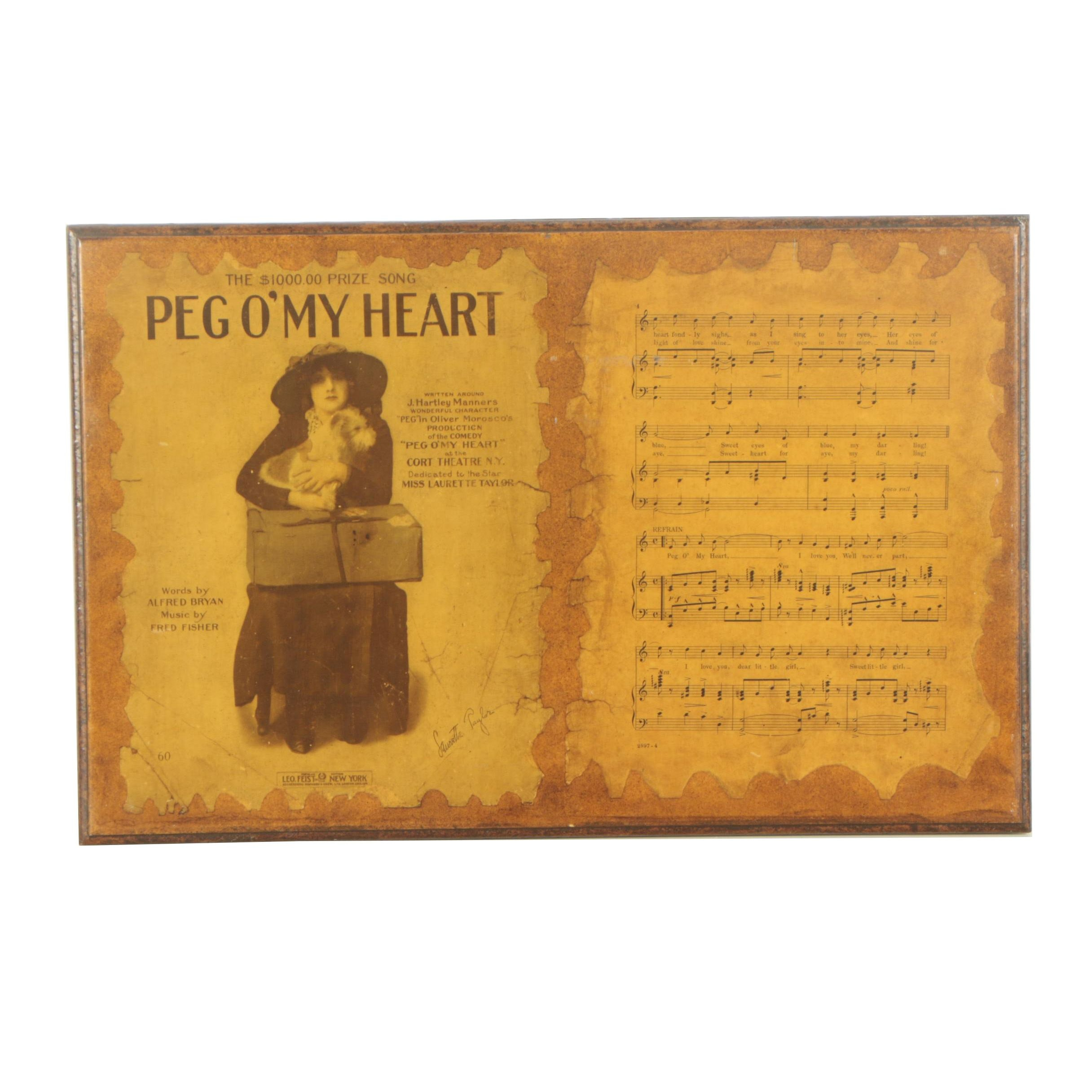 "Decoupaged ""Peg O' My Heart"" Sheet Music Wall Plaque"