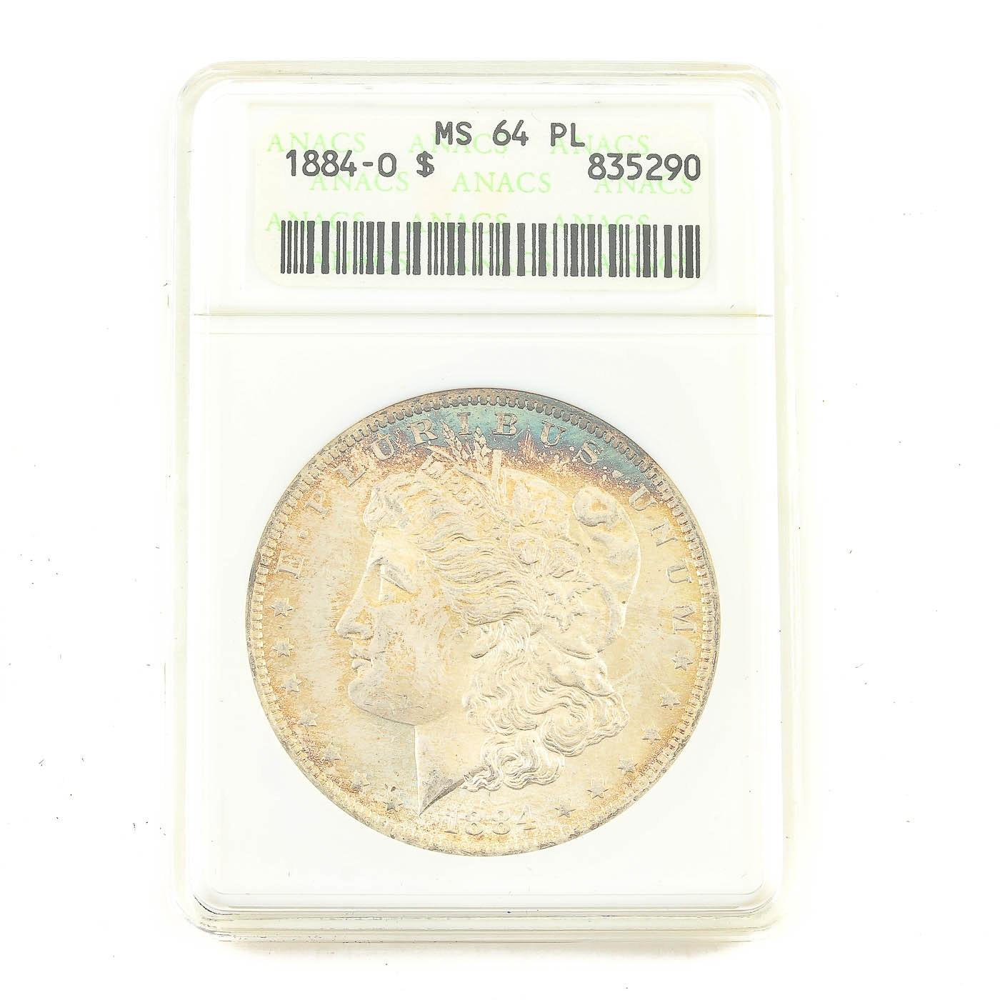 ANACS graded MS64 PL 1884-O Morgan Silver Dollar