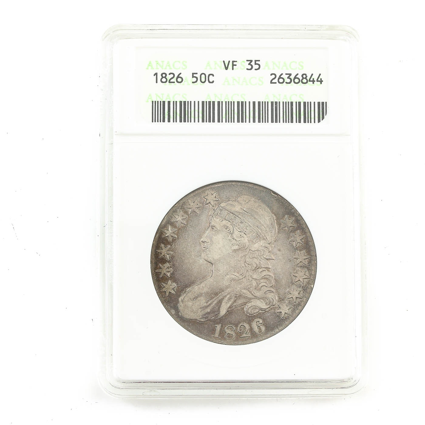 ANACS graded VF35 Capped Bust Silver Half Dollar