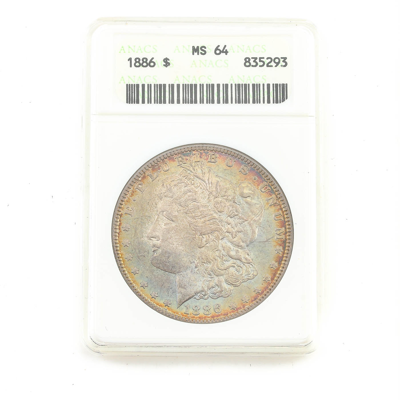ANACS graded MS64 1886 Morgan Silver Dollar