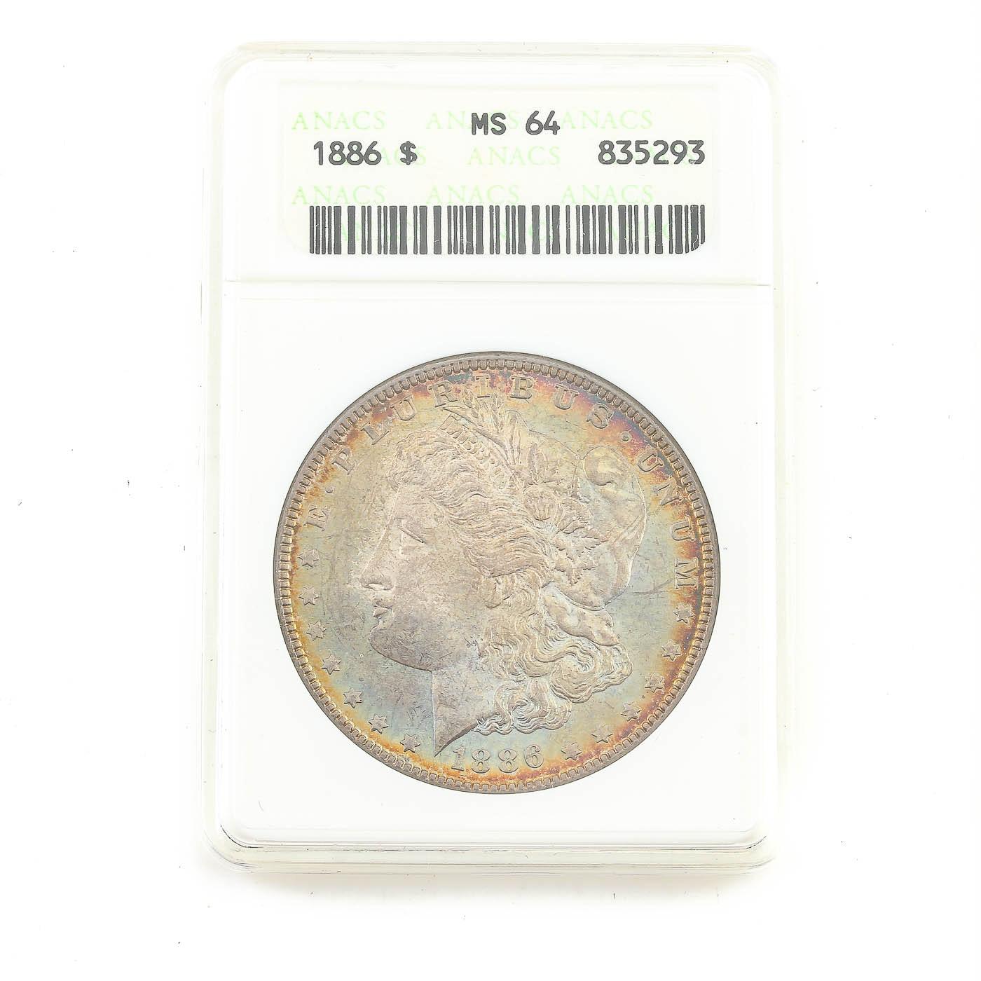 ANACS graded MS64 1886 Morgan Silver Dollar