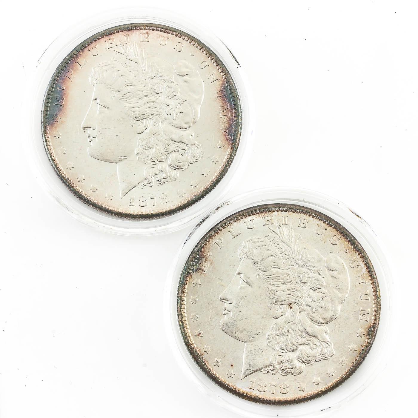 Two 1878-S Morgan Silver Dollars
