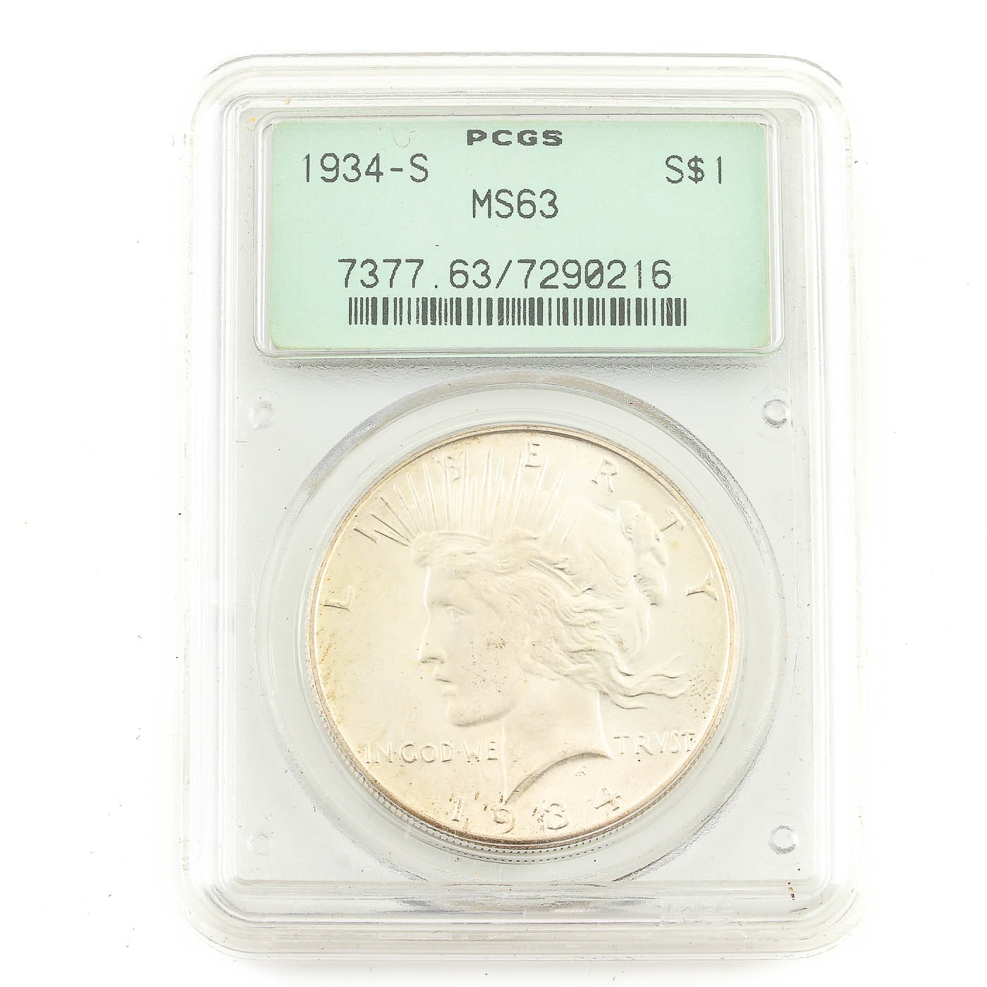 Key Date Condition Rarity PCGS Graded MS63 1934-S Peace Silver Dollar