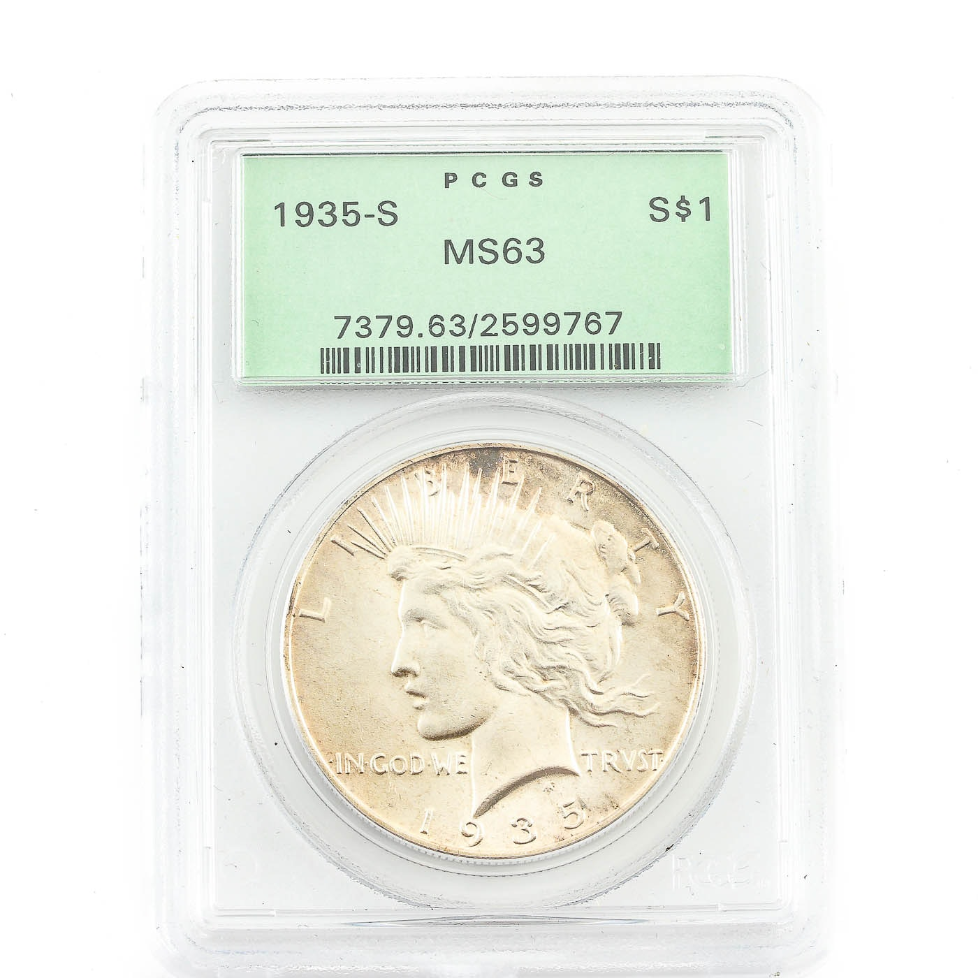 Better Date PCGS Graded MS63 1935-S Peace Silver Dollar