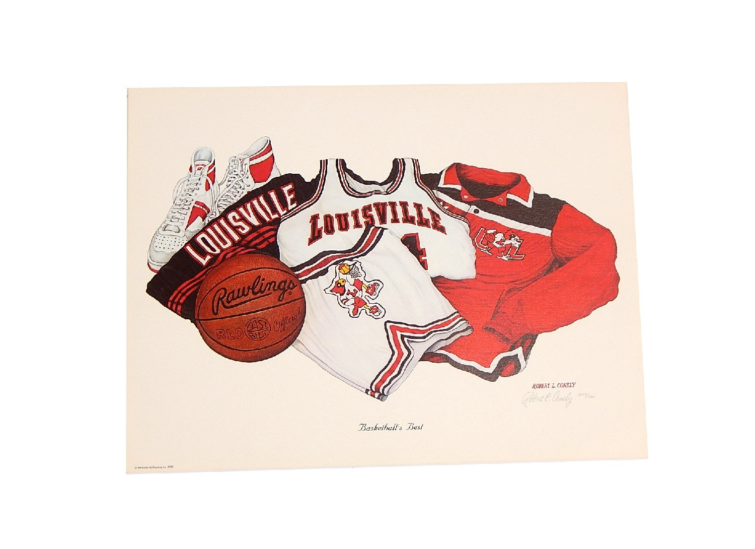 """Robert L. Conely Louisville """"Basketball's Best"""" Signed Limited Lithograph Print"""