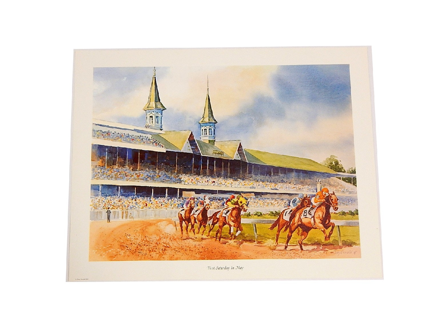 """1984 """"First Saturday in May"""" Unsigned Lithograph Print by Tony Oswald"""