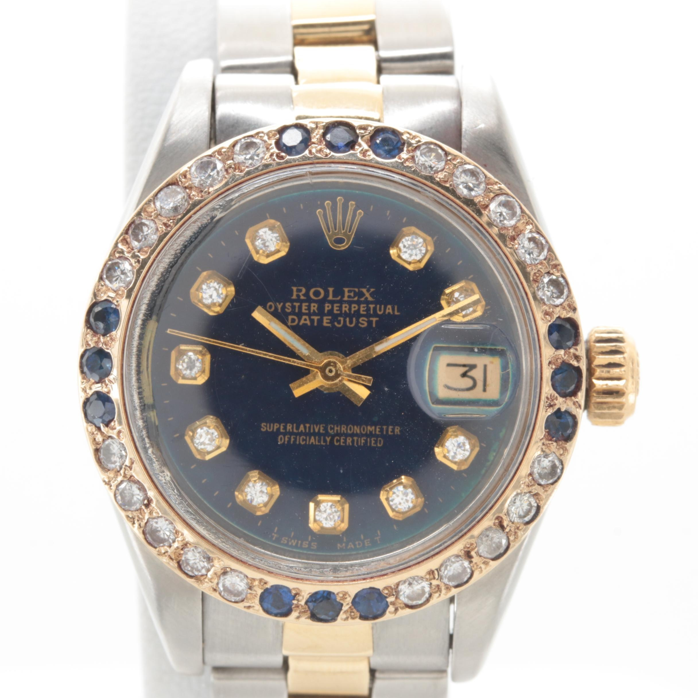 Rolex Stainless Steel and 18K Yellow Gold Diamond and Sapphire Wristwatch