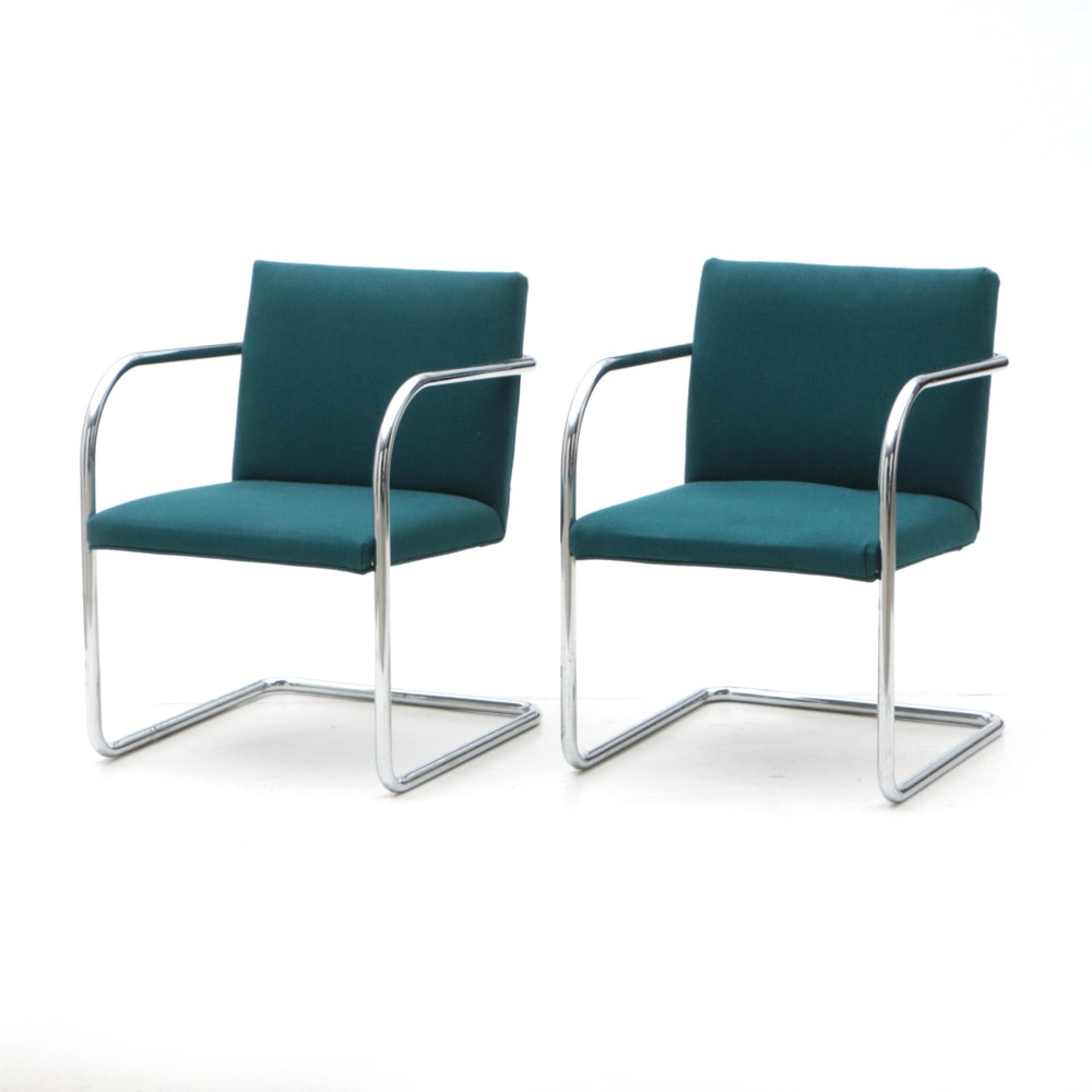 Pair of Chrome Cantilevered Arm Chairs by Thonet Industries