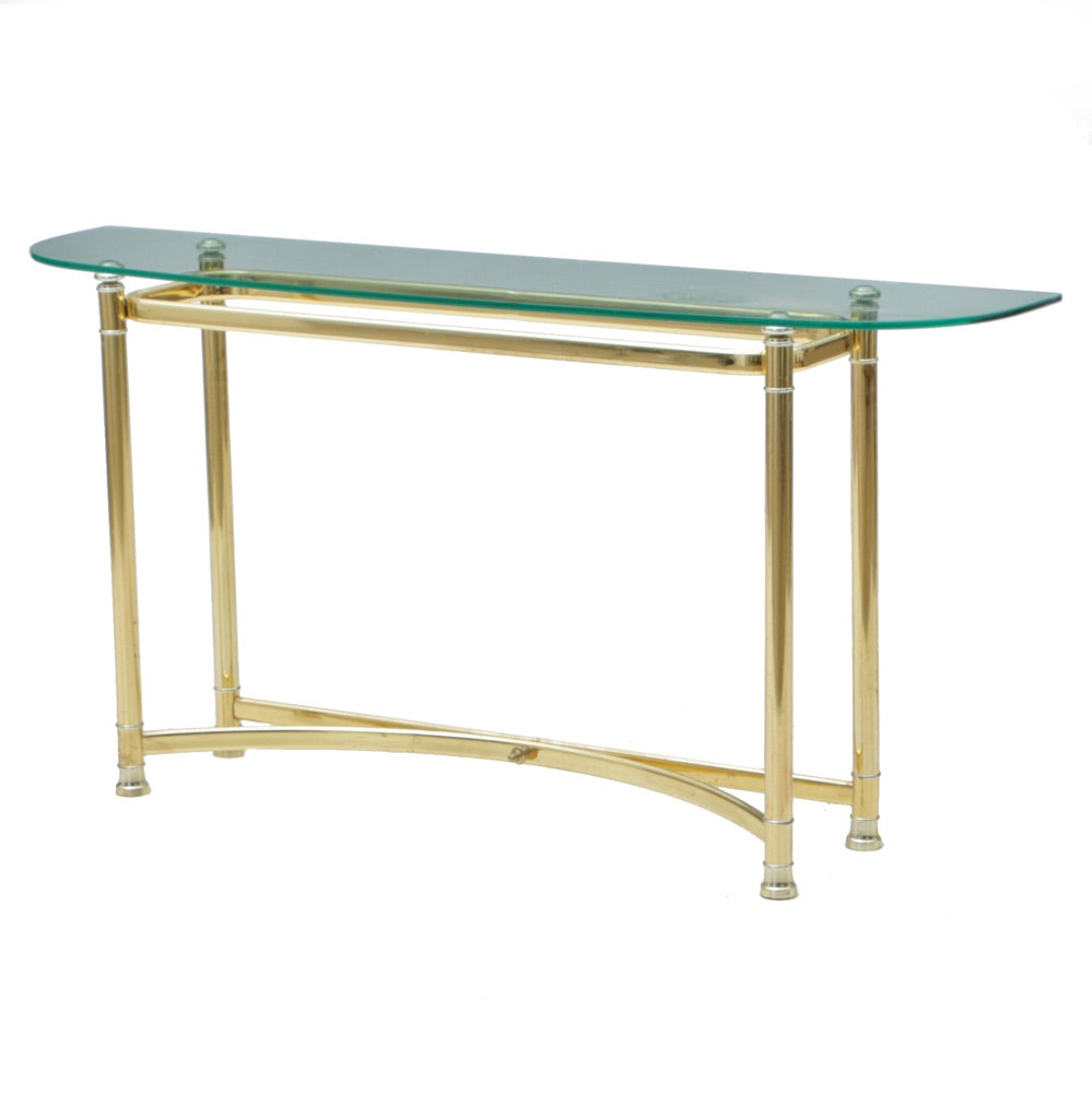 Brass-Tone Console Table with Glass Top