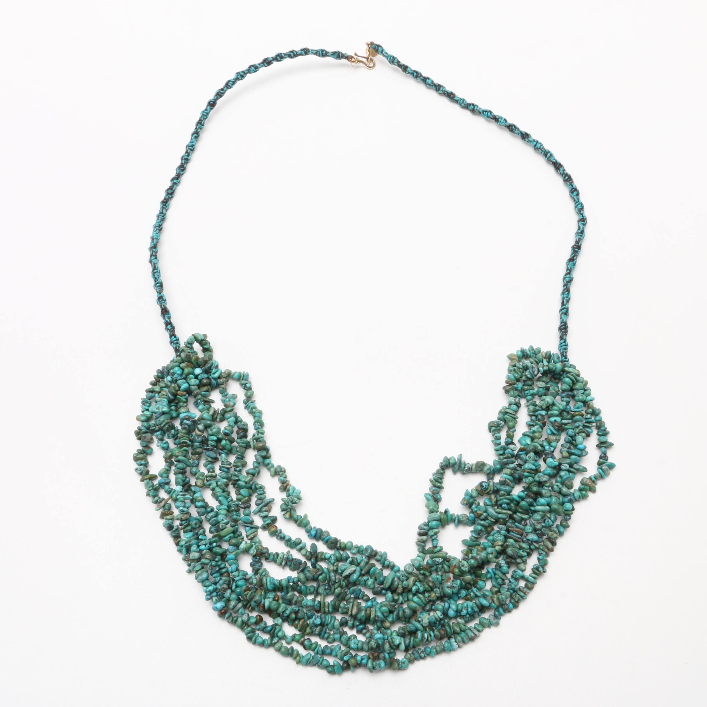 Chan Luu Sterling Silver Multi-Strand Turquoise Threaded Necklace