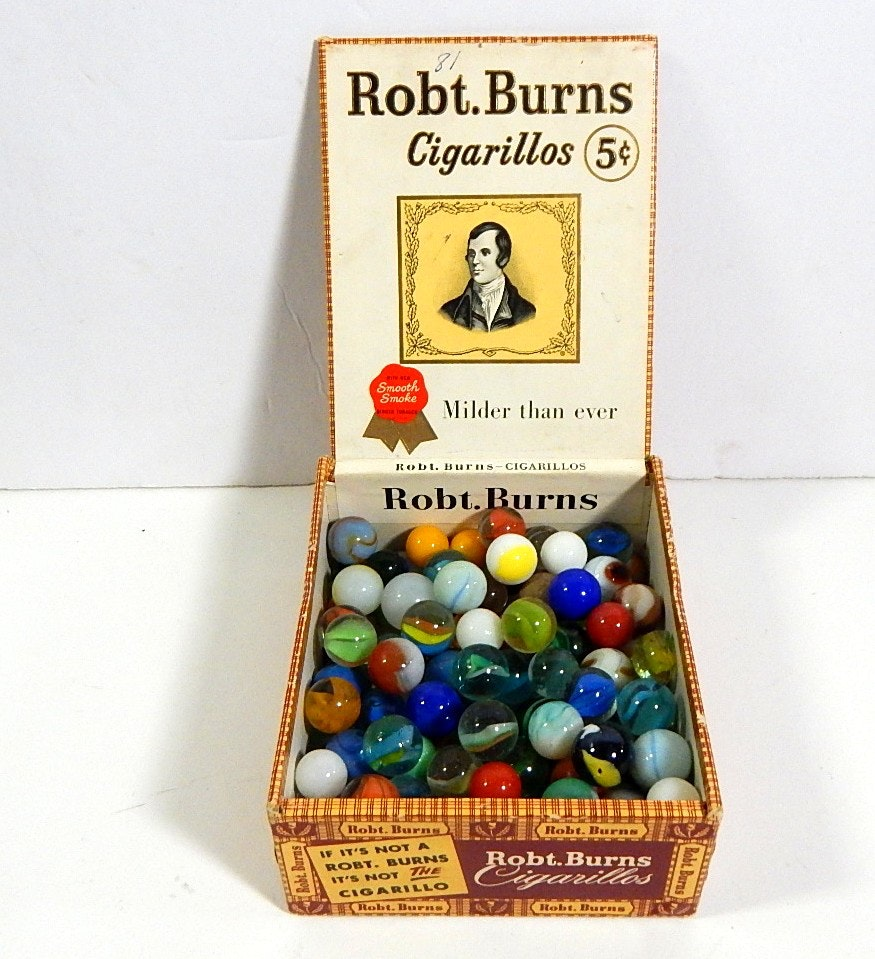 Over 100 Vintage Glass Marbles in Cigar Box