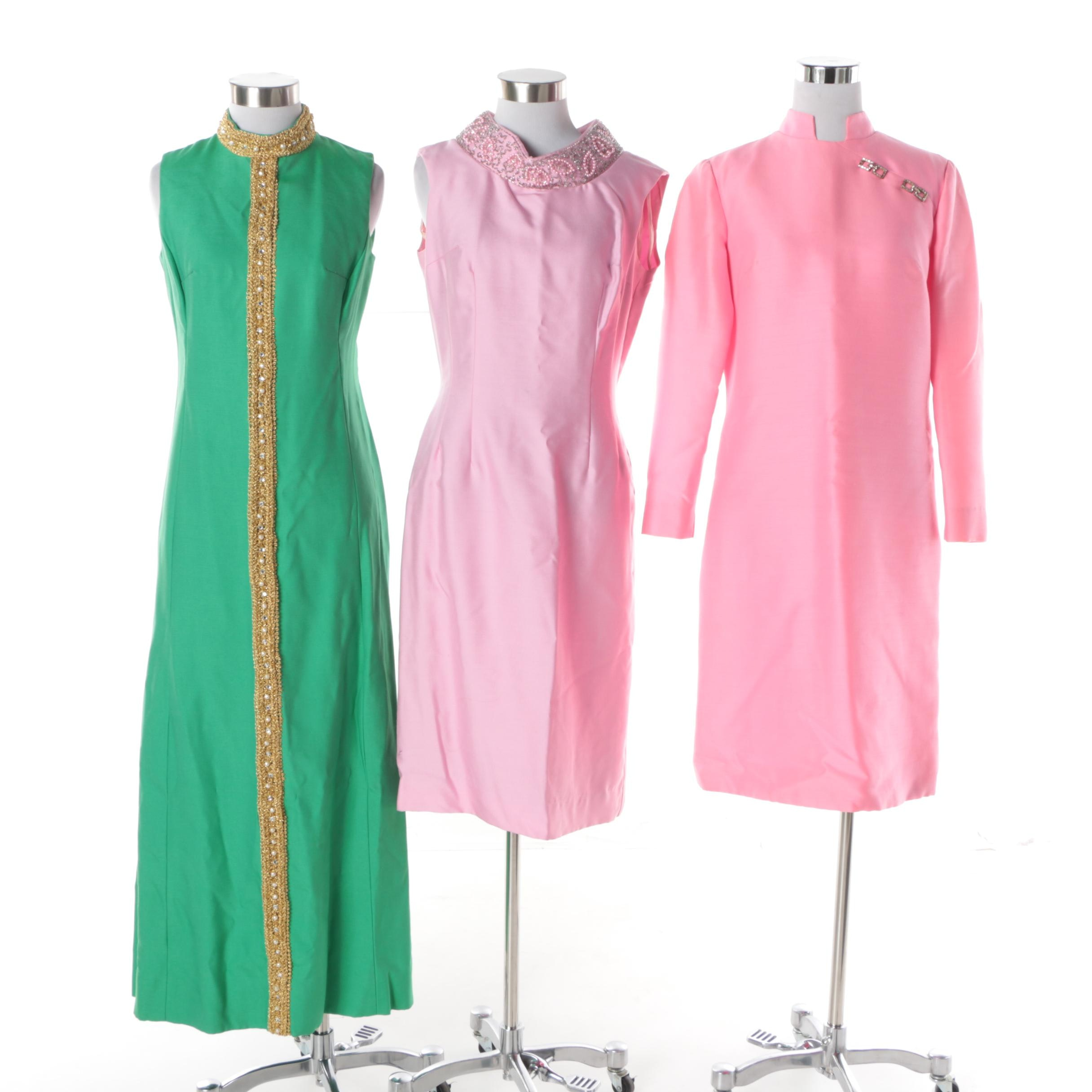 Circa 1960s-1970s Vintage Cocktail Dresses Including Date Makers Formals