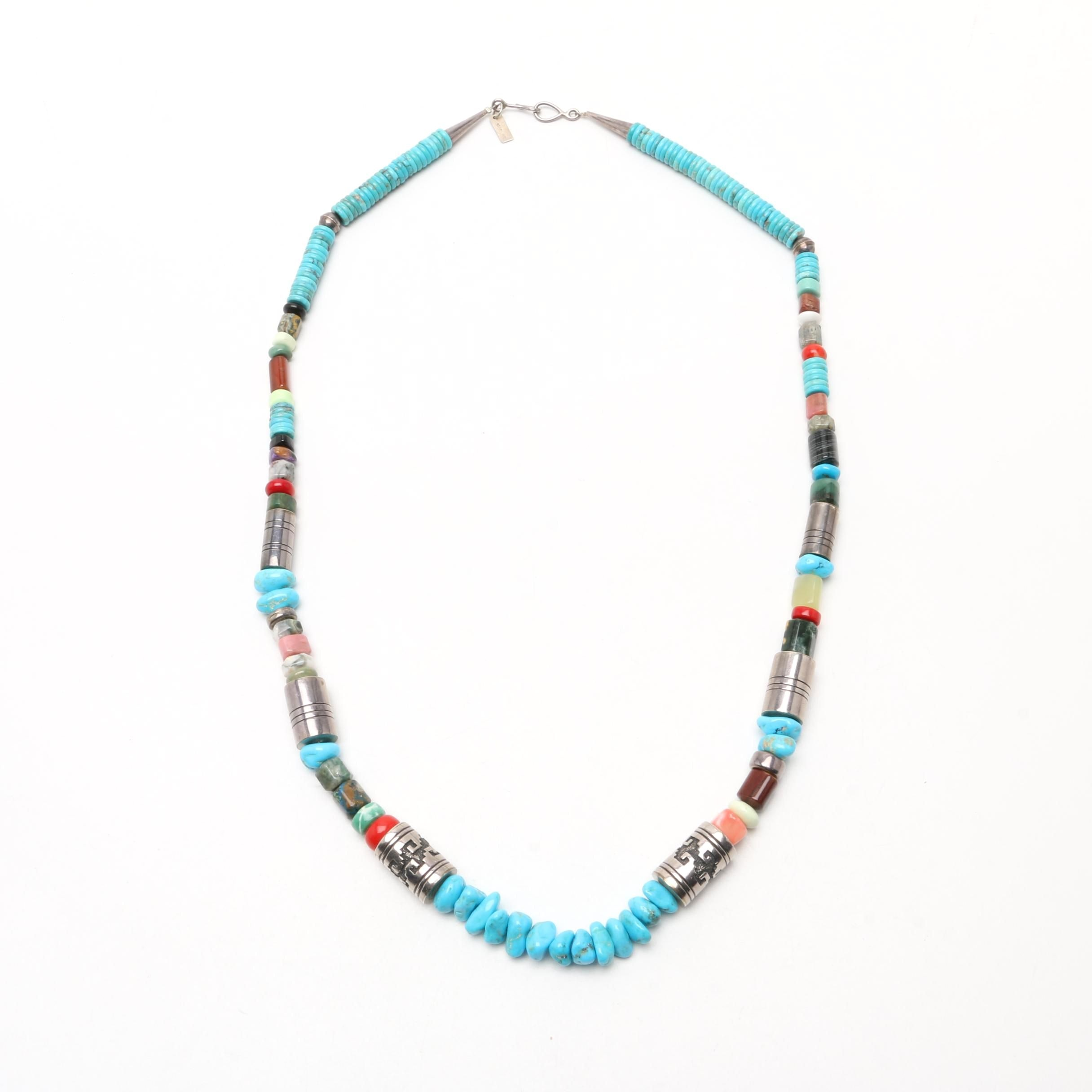 Tommy Singer Navajo Diné Sterling Silver Gemstone Beaded Necklace