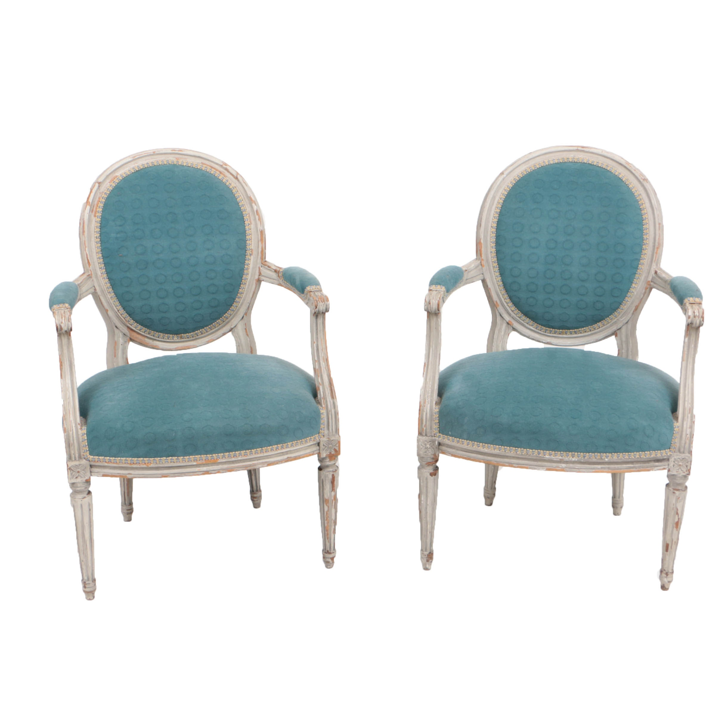 Pair of 19th Century Louis XV Style Armchairs in Designer Upholstery