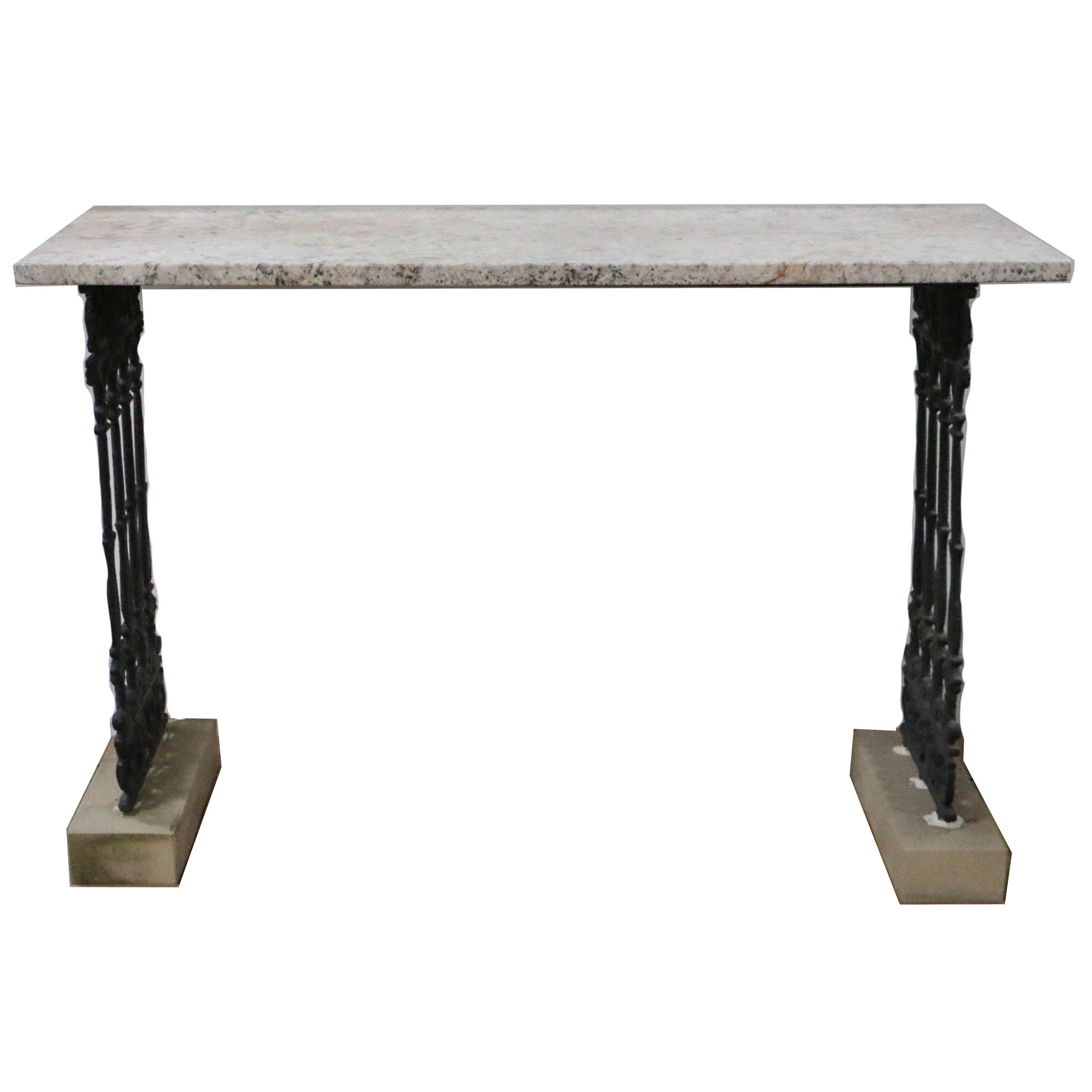 Custom-Made Console Table with Granite Top and Antique Cast Iron Fence Panels