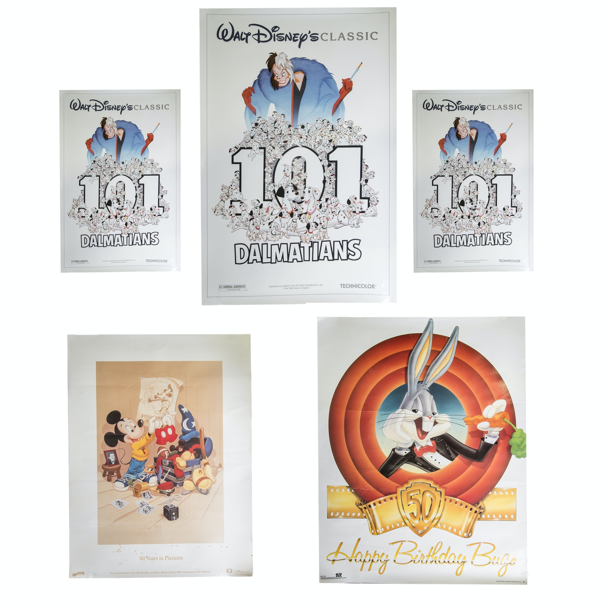 Walt Disney and Warner Brothers Offset Lithograph Posters